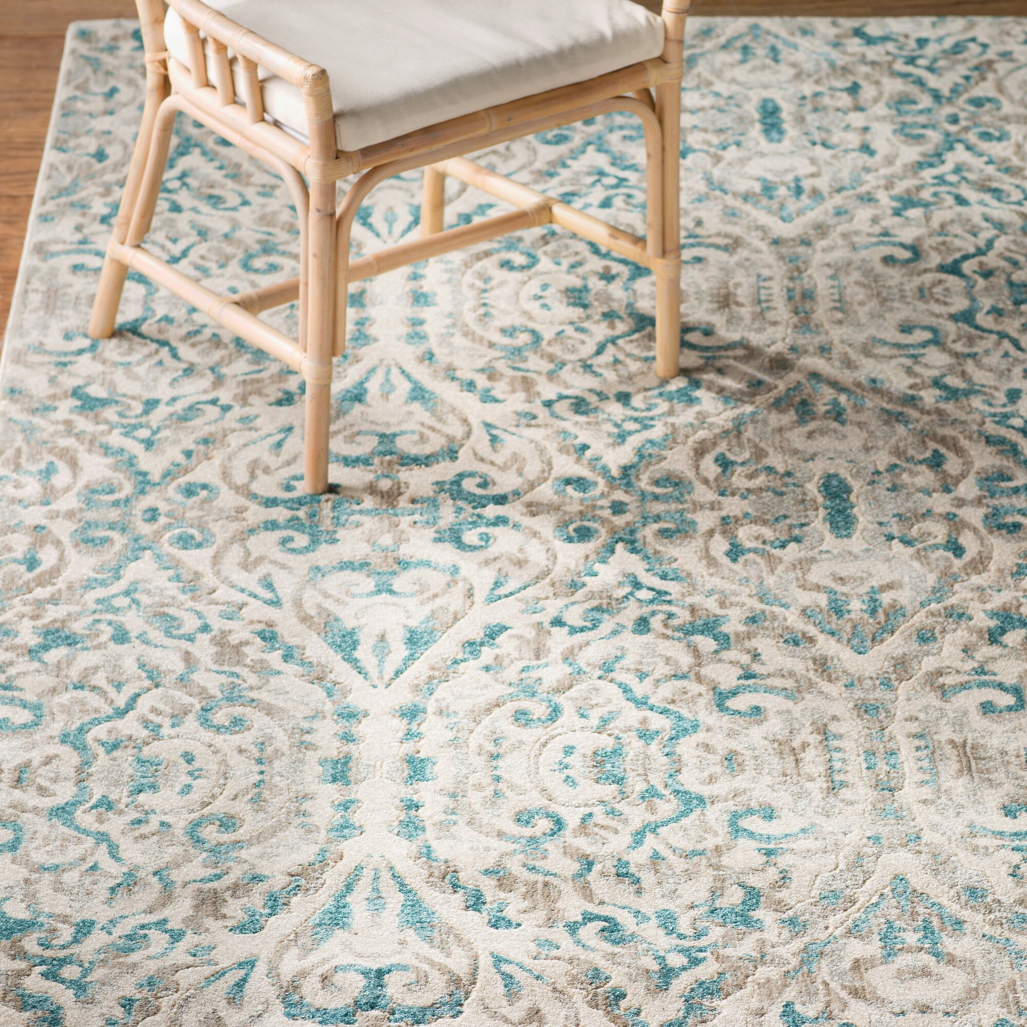 Bungalow Rose™ Saleya Turquoise Area Rug & Reviews