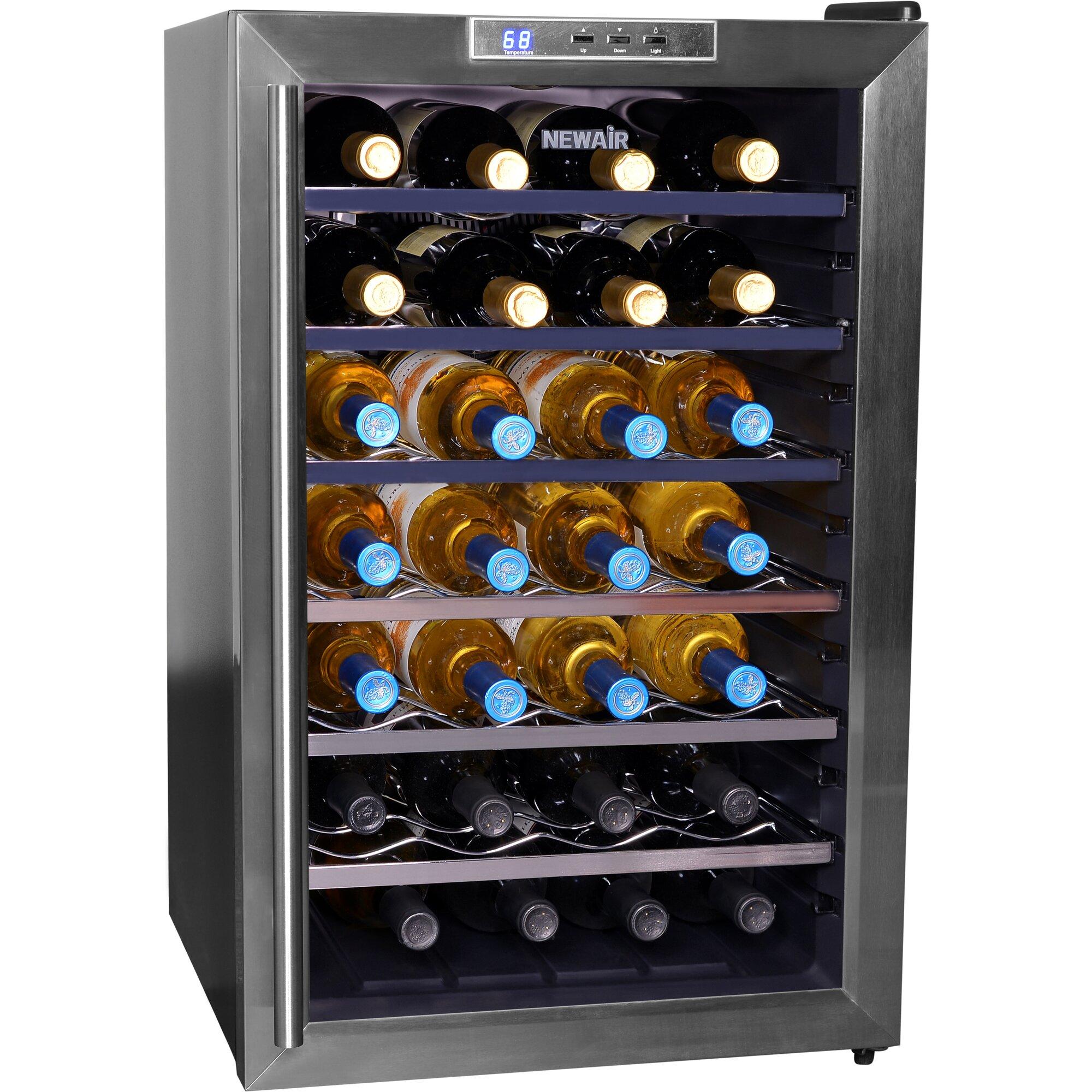 newair 28 bottle single zone freestanding wine cooler reviews wayfair. Black Bedroom Furniture Sets. Home Design Ideas