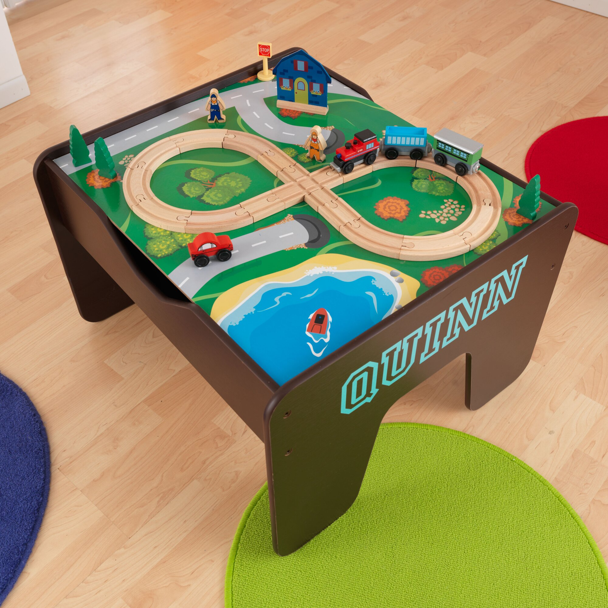 kidkraft activity 2 in 1 kids square lego train table reviews wayfair. Black Bedroom Furniture Sets. Home Design Ideas