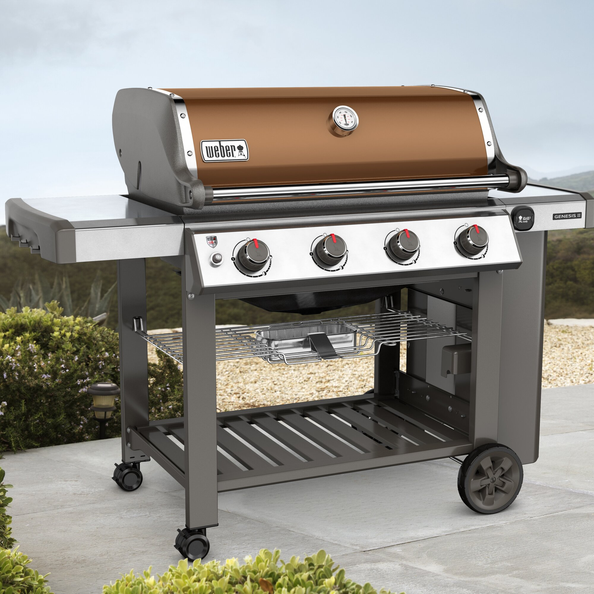 weber genesis ii e 410 4 burner propane gas grill with side shelves reviews wayfair. Black Bedroom Furniture Sets. Home Design Ideas