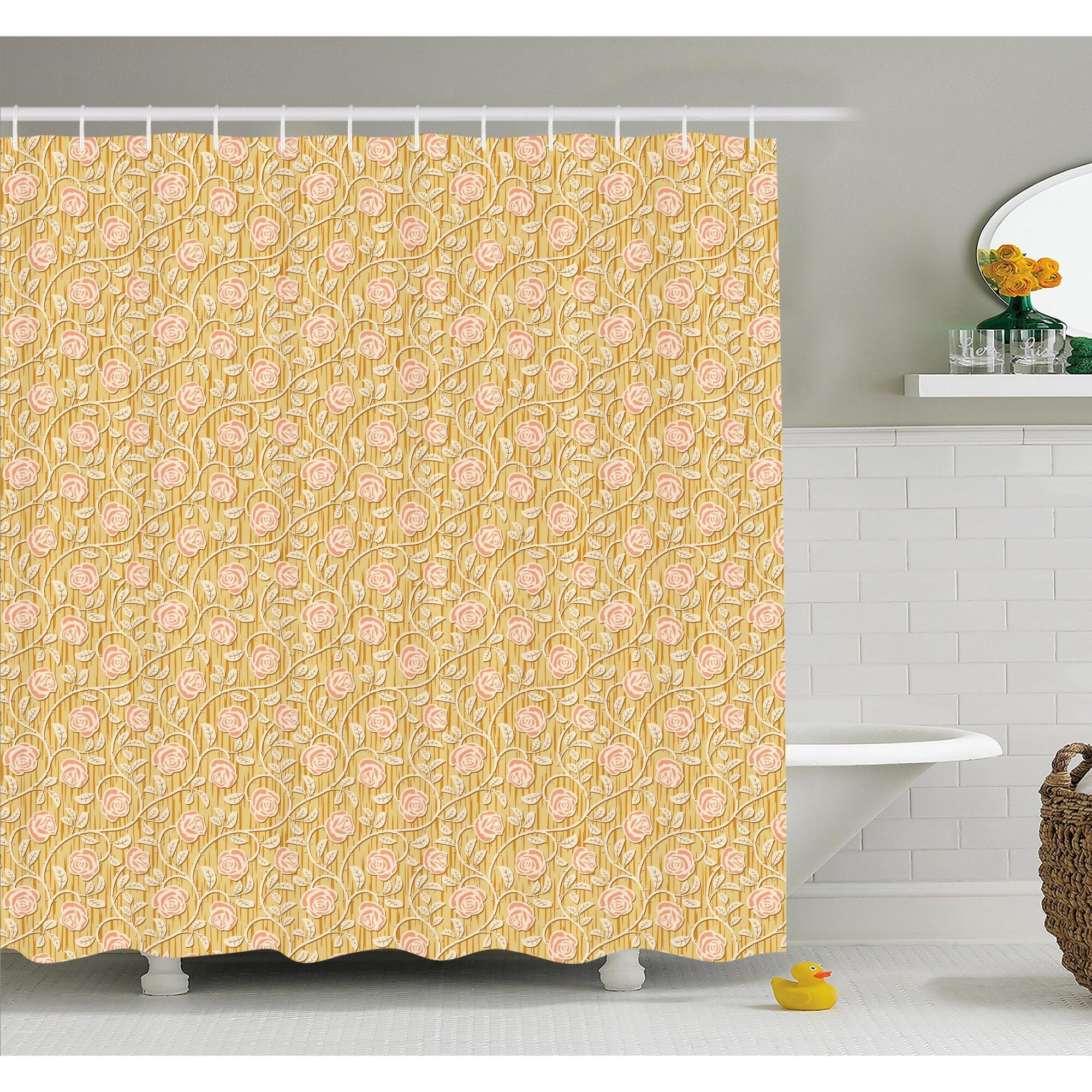 Romantic shower curtain - Romantic Rose Petals With Branches Nature Beauty Valentine Feminine Print Shower Curtain Set