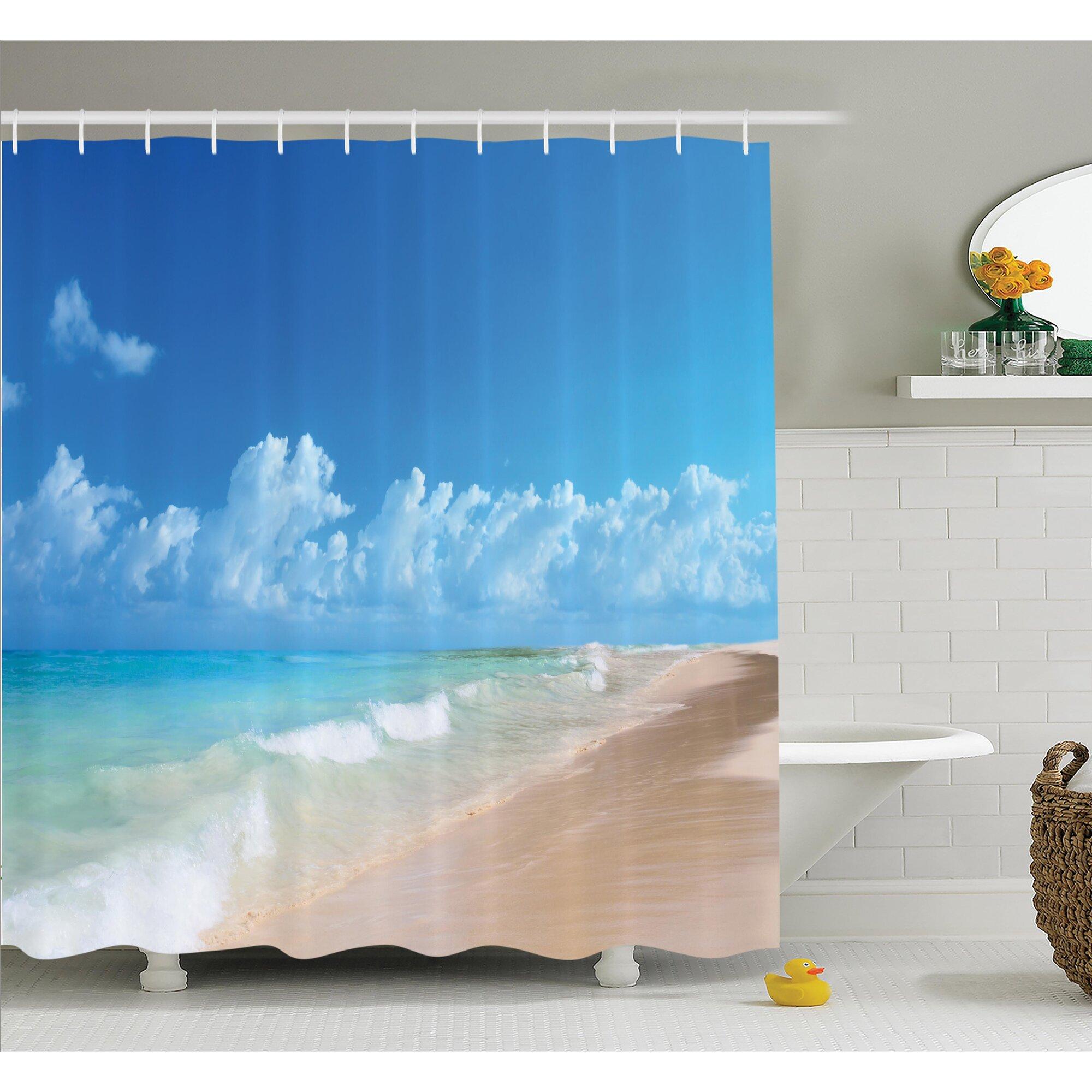 Ocean shower curtains - Nautical Tropical Ocean Waves Shower Curtain Set