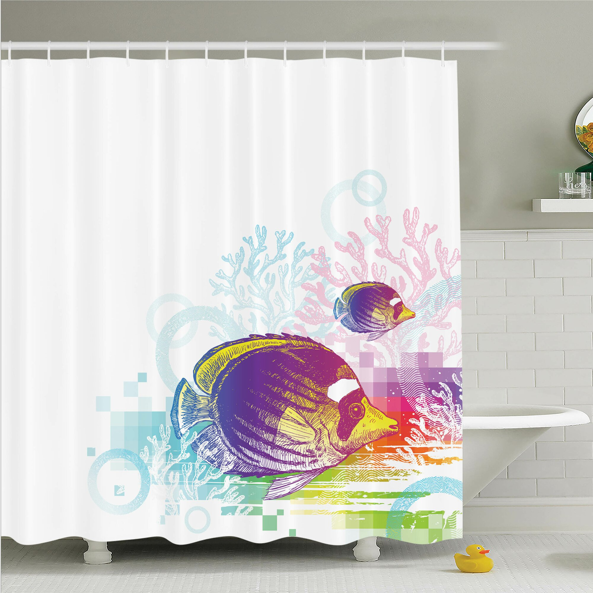 Ambesonne fish sea animals kids shower curtain set for Kids shower curtain sets
