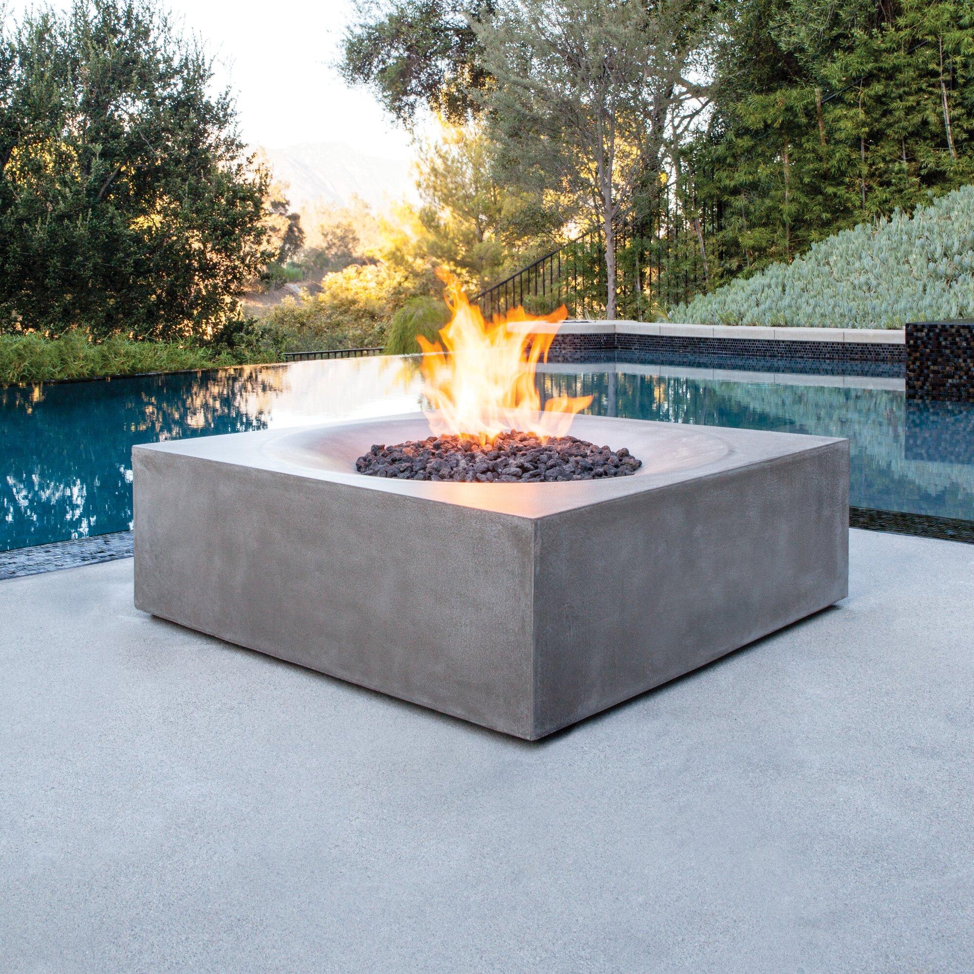 BJFS Solstice Concrete Natural Gas/Propane Fire Pit Table ...