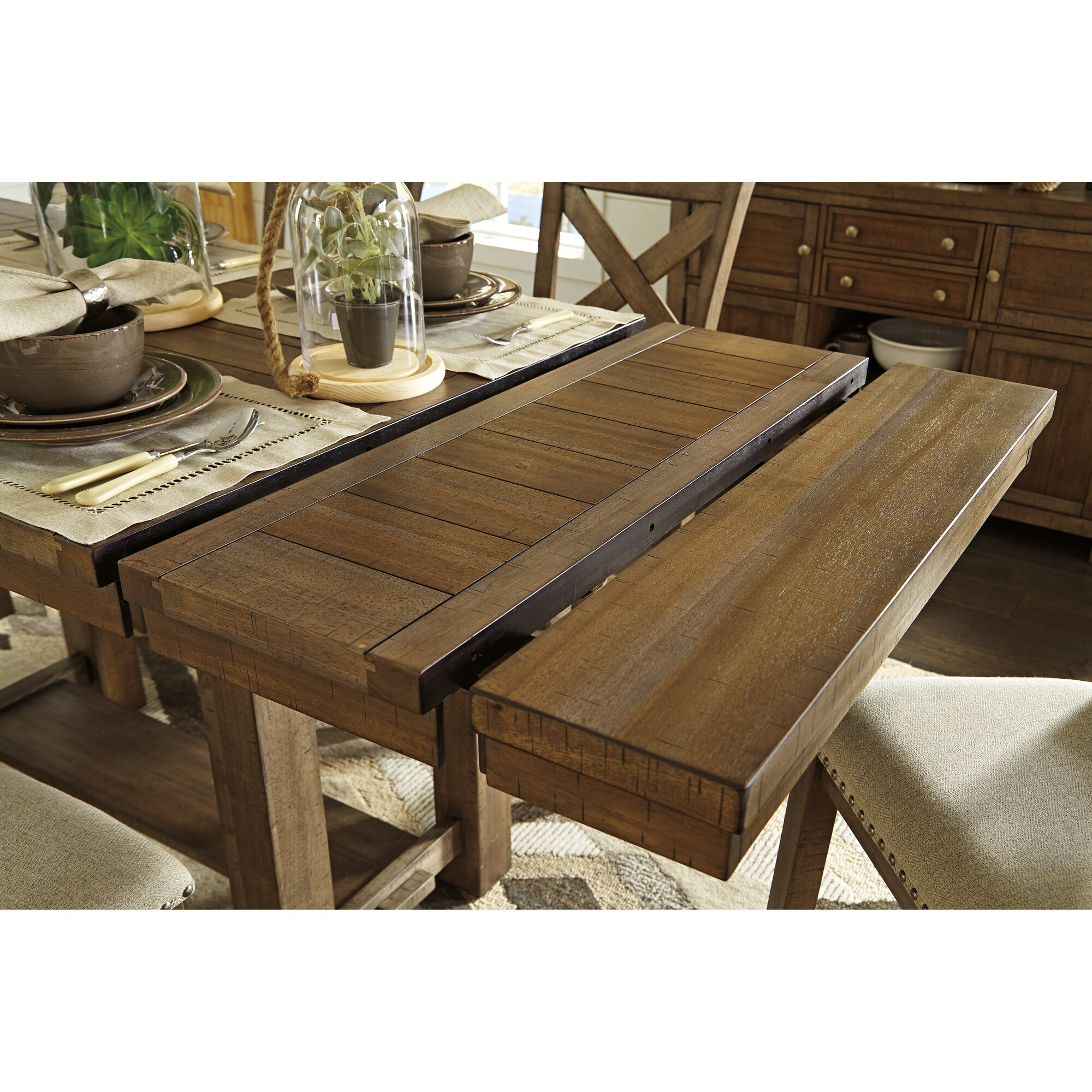 Laurel foundry modern farmhouse hillary rectangular counter height extendable dining table - Rectangle kitchen tables ...