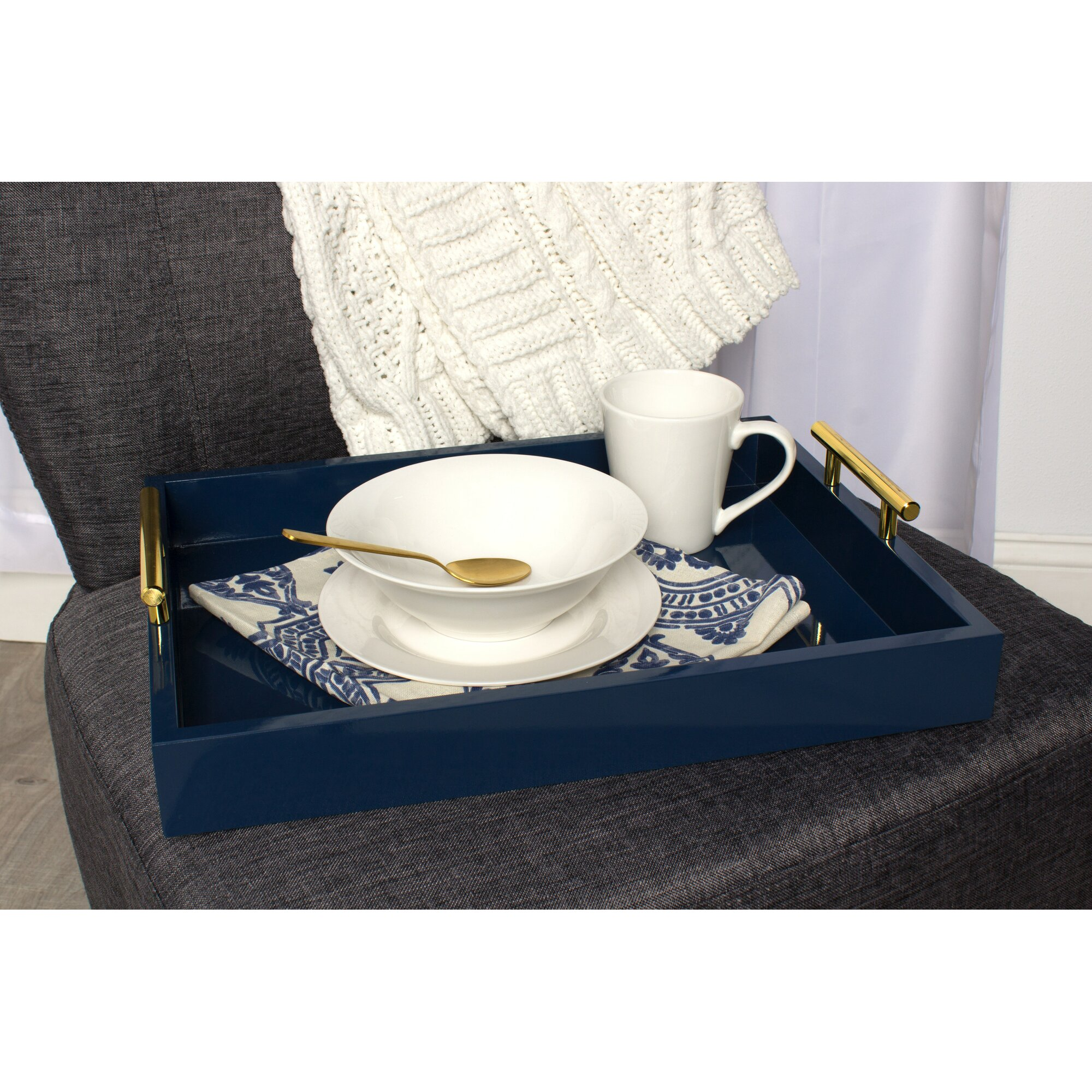 lipton decorative serving tray with polished metal handles - Decorative Serving Trays