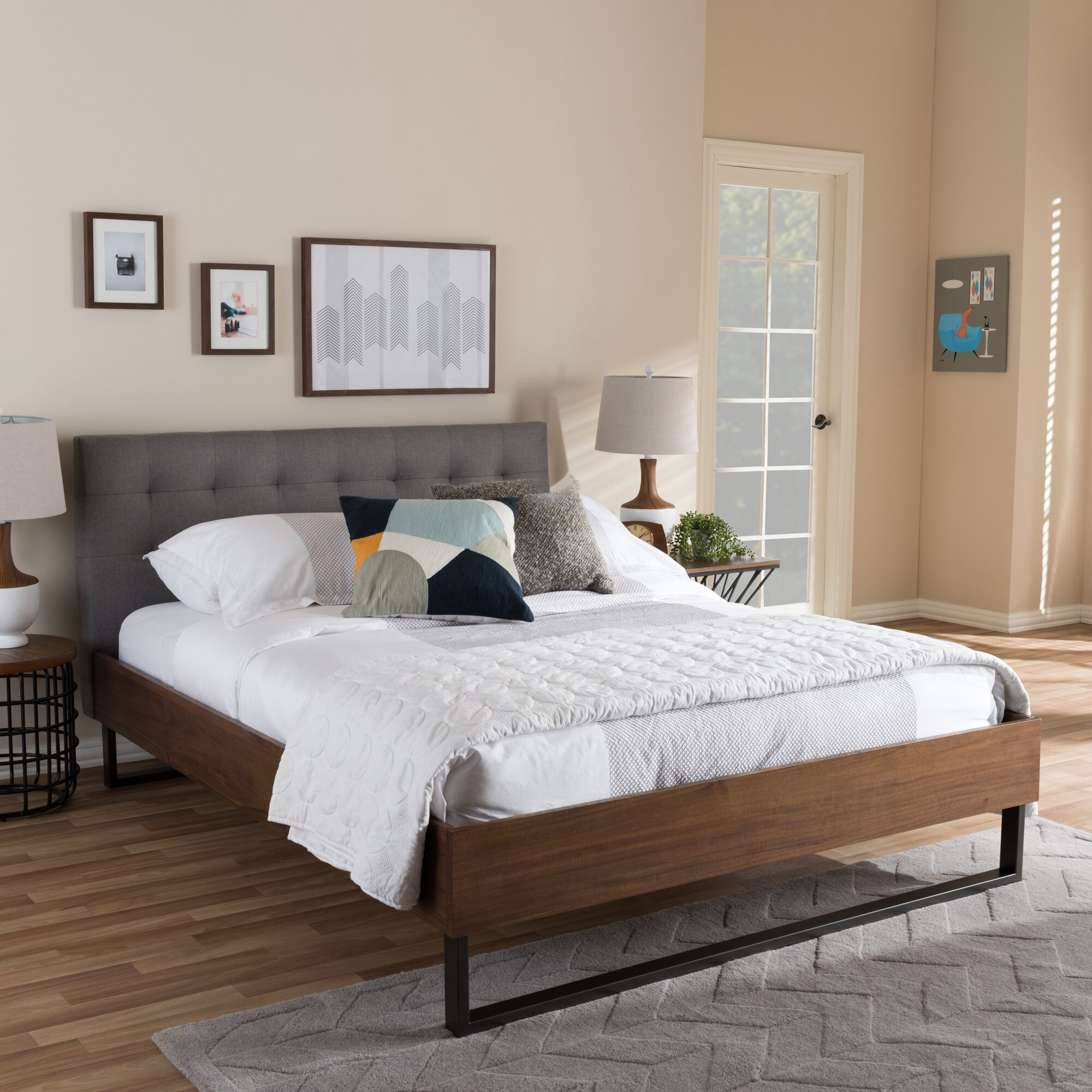 wholesale interiors baxton studio alberto upholstered platform bed  - baxton studio alberto upholstered platform bed