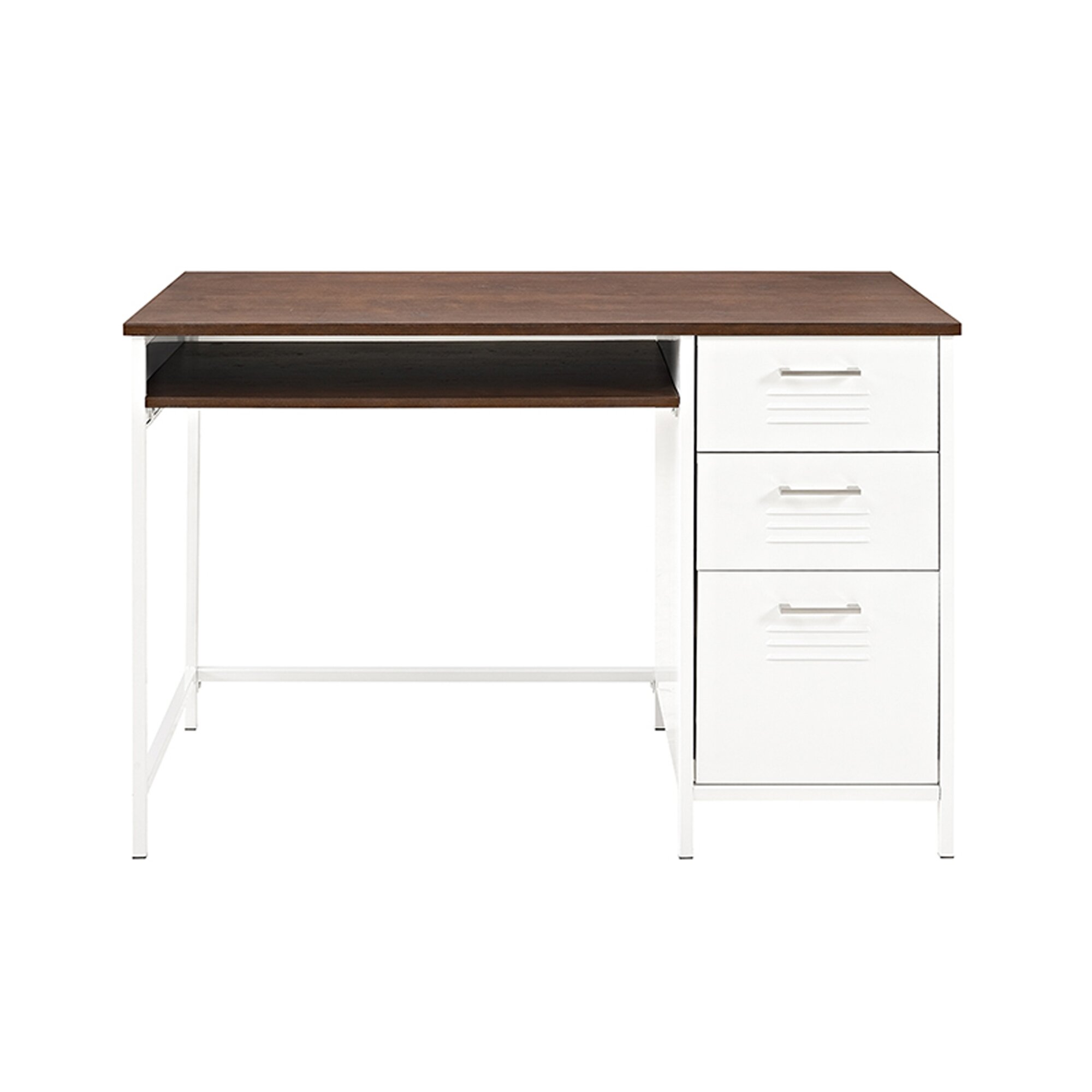 Latitude run marlee metal locker style computer desk with for Metal desk with wood top