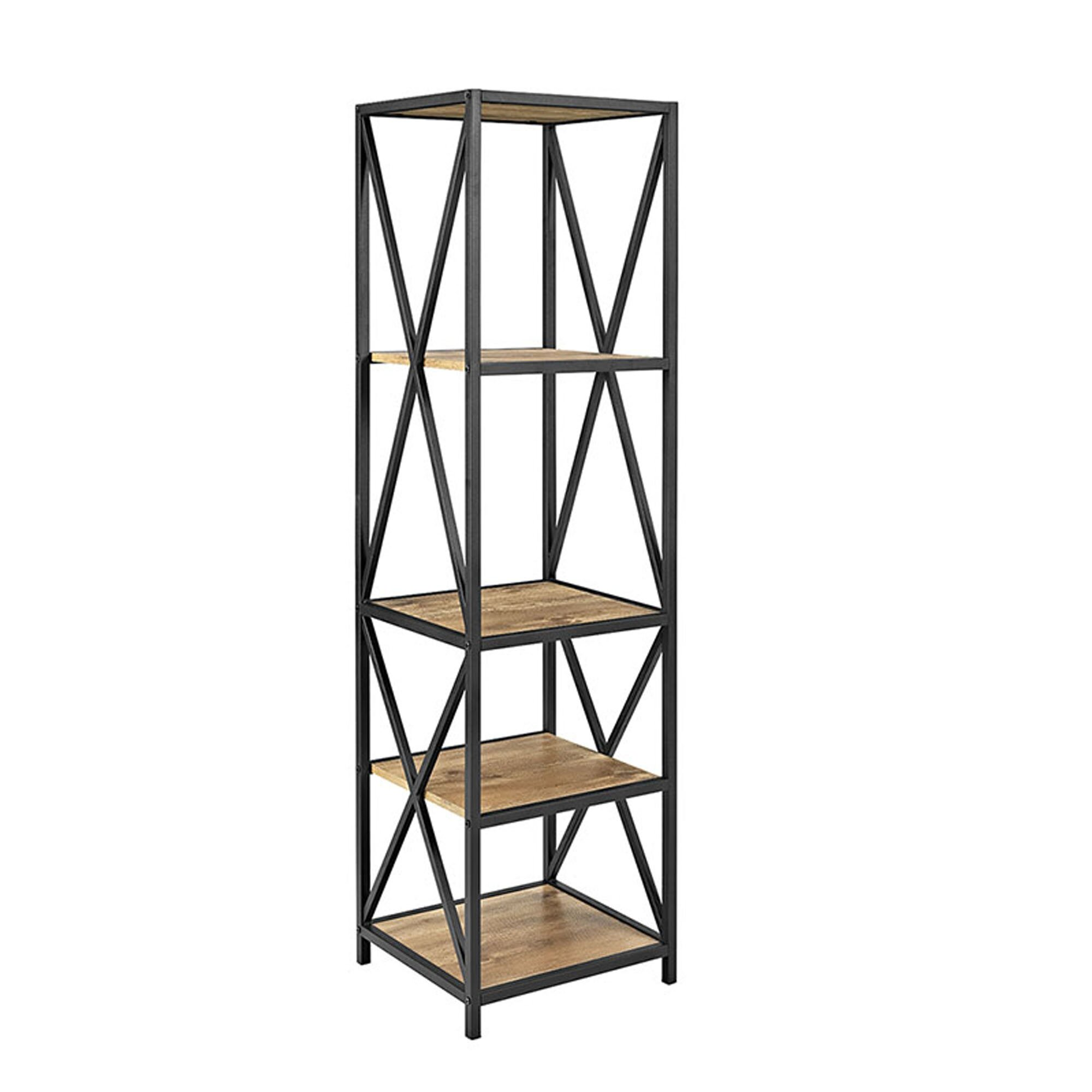 trent austin design augustus x frame metal and wood media 61 etagere bookcase reviews wayfair. Black Bedroom Furniture Sets. Home Design Ideas