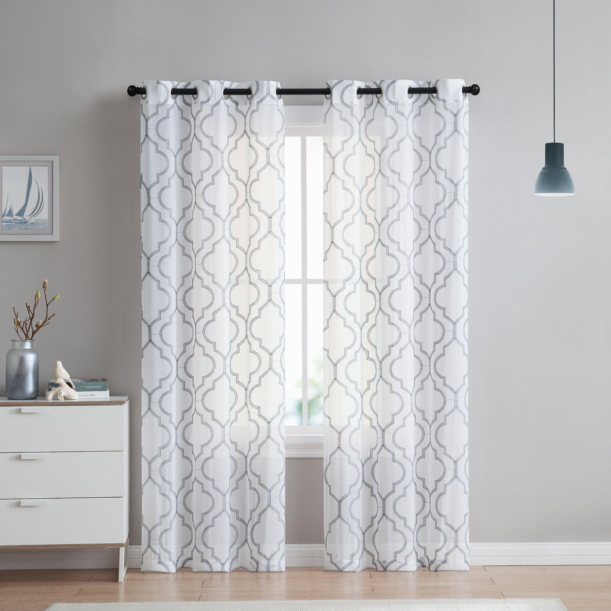 Alvares Geometric Sheer Grommet Curtain Panels & Reviews