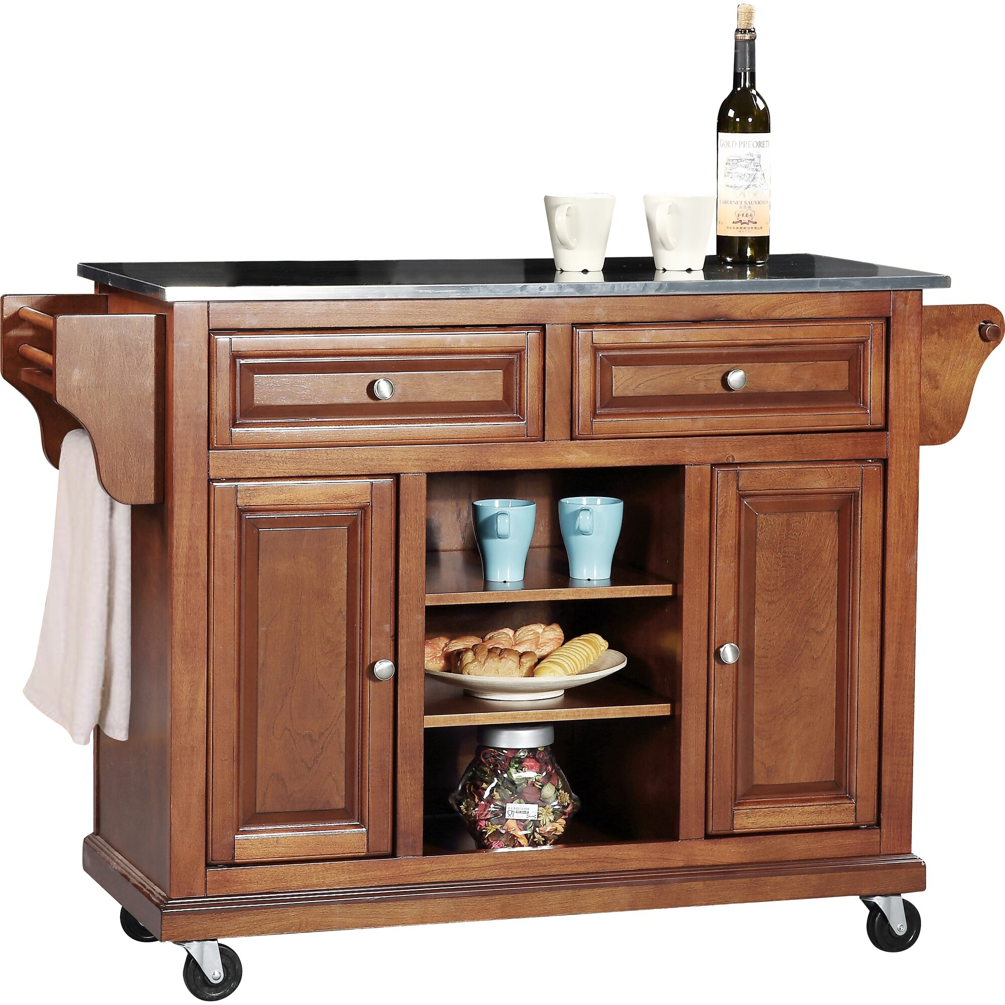 wildon home 174 kitchen island with stainless steel top crosley kitchen island with stainless steel top amp reviews