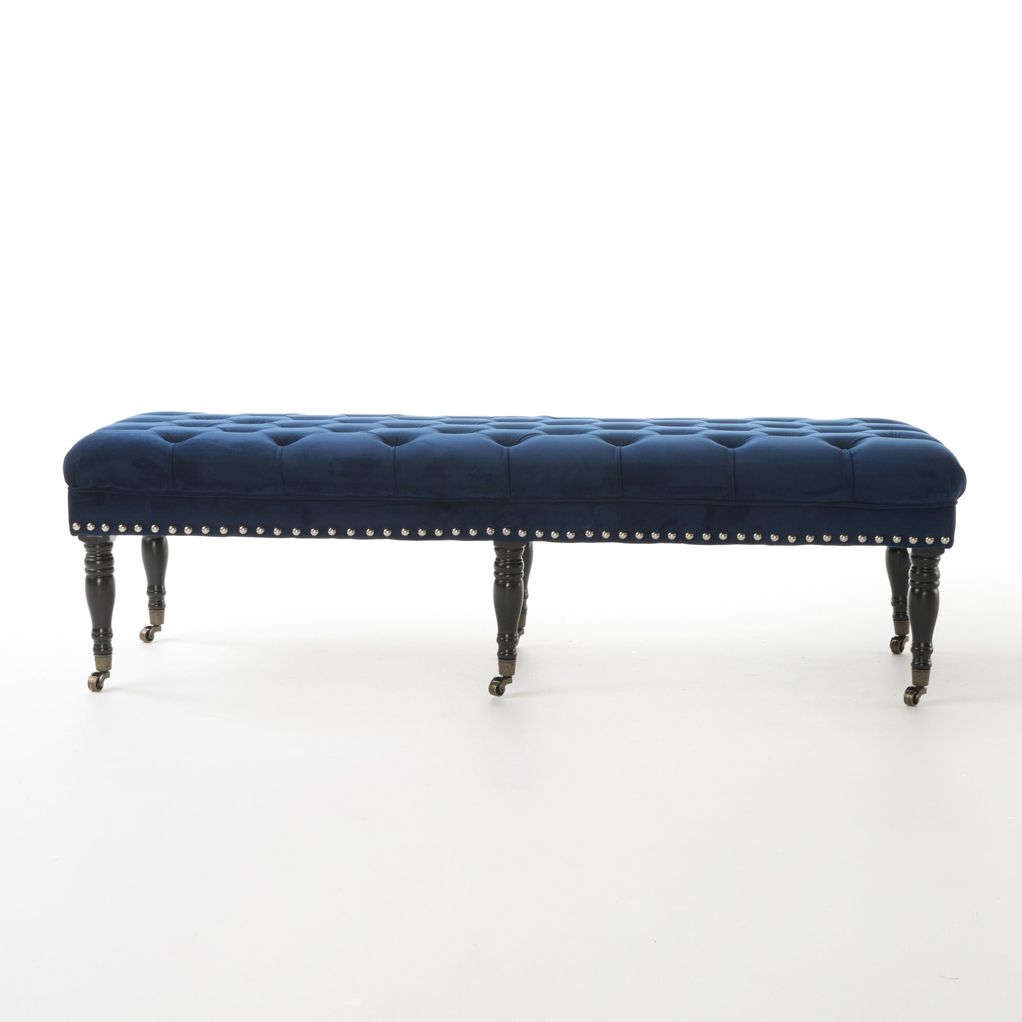 Bedroom bench with arms - Hoxton Velvet Upholstered Bedroom Bench With Caster