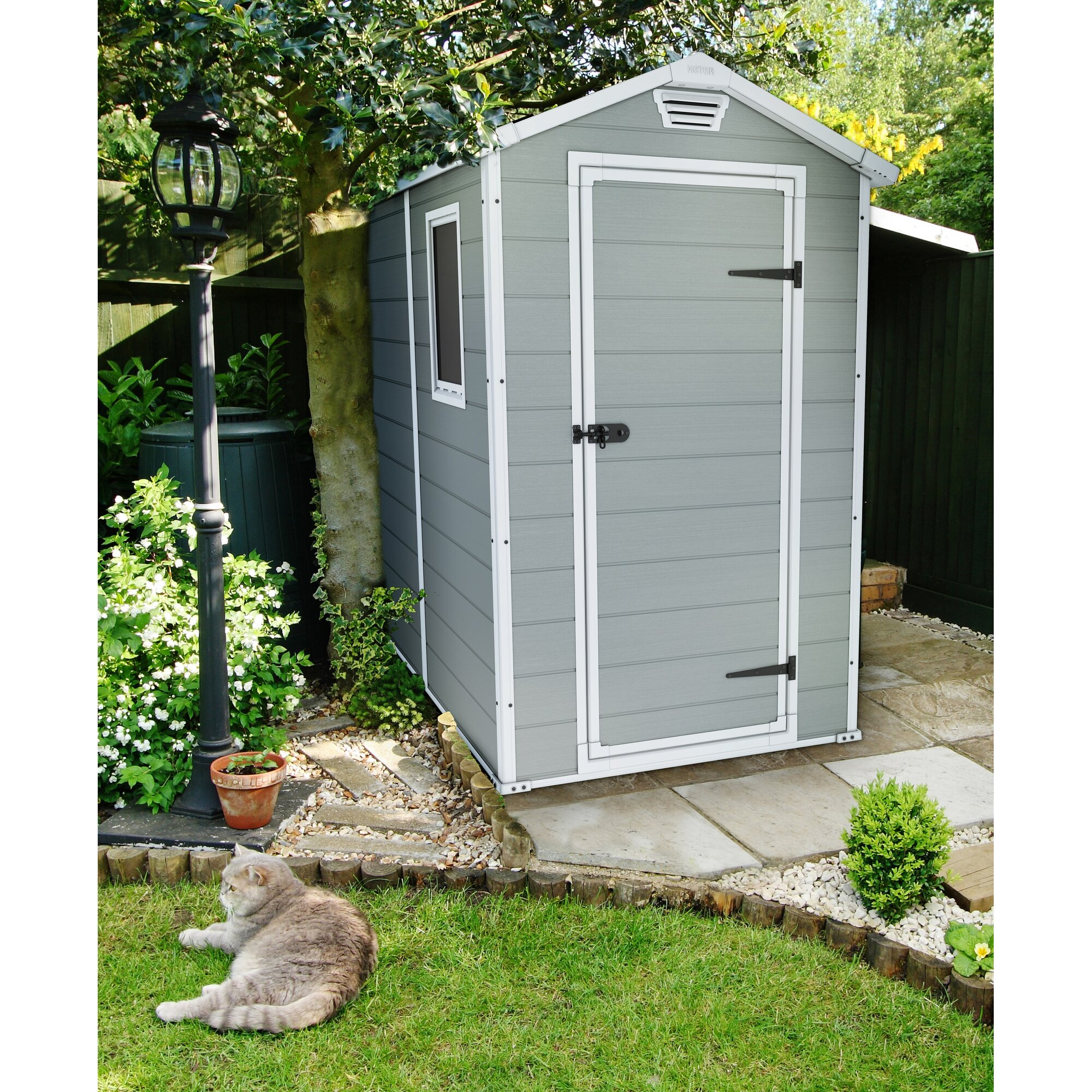 Keter manor 4 ft w x 6 3 ft d resin vertical storage for Garden shed 4 x 2