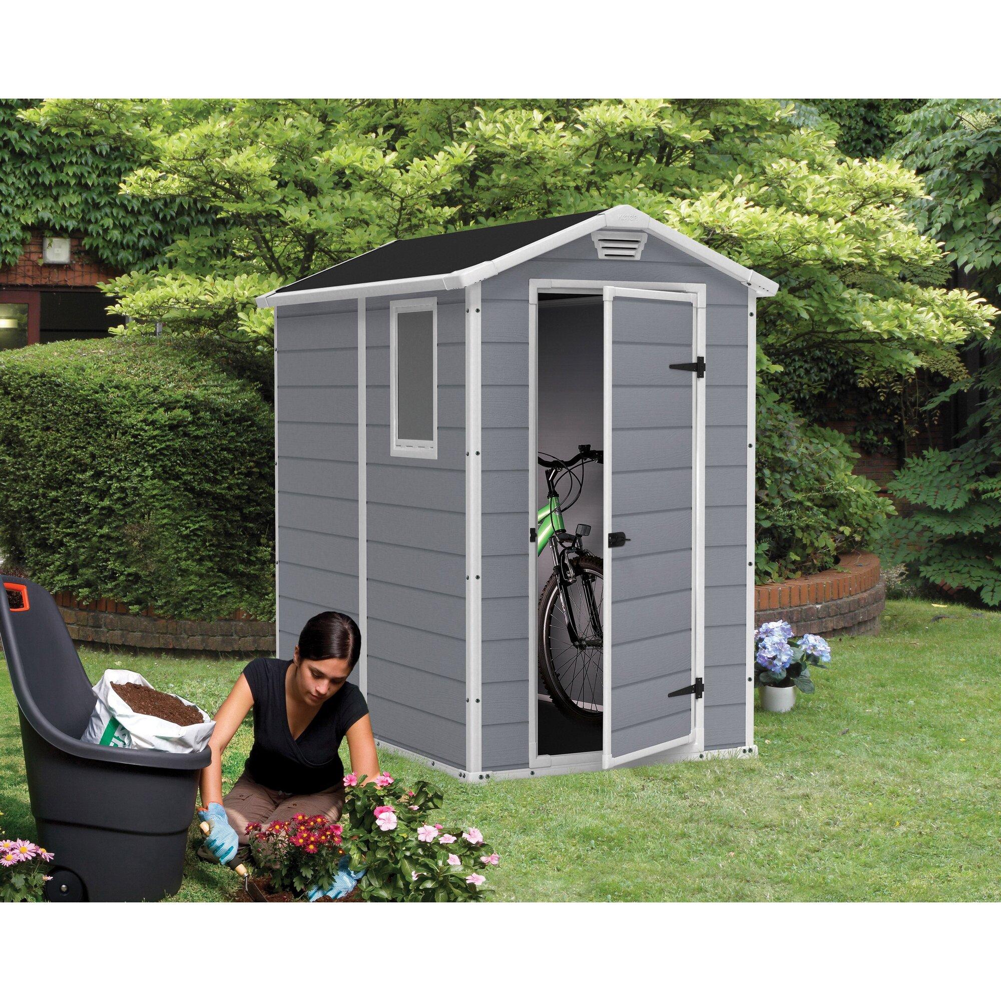 Keter manor 4 ft w x 6 3 ft d resin vertical storage - Brown plastic garden sheds ...