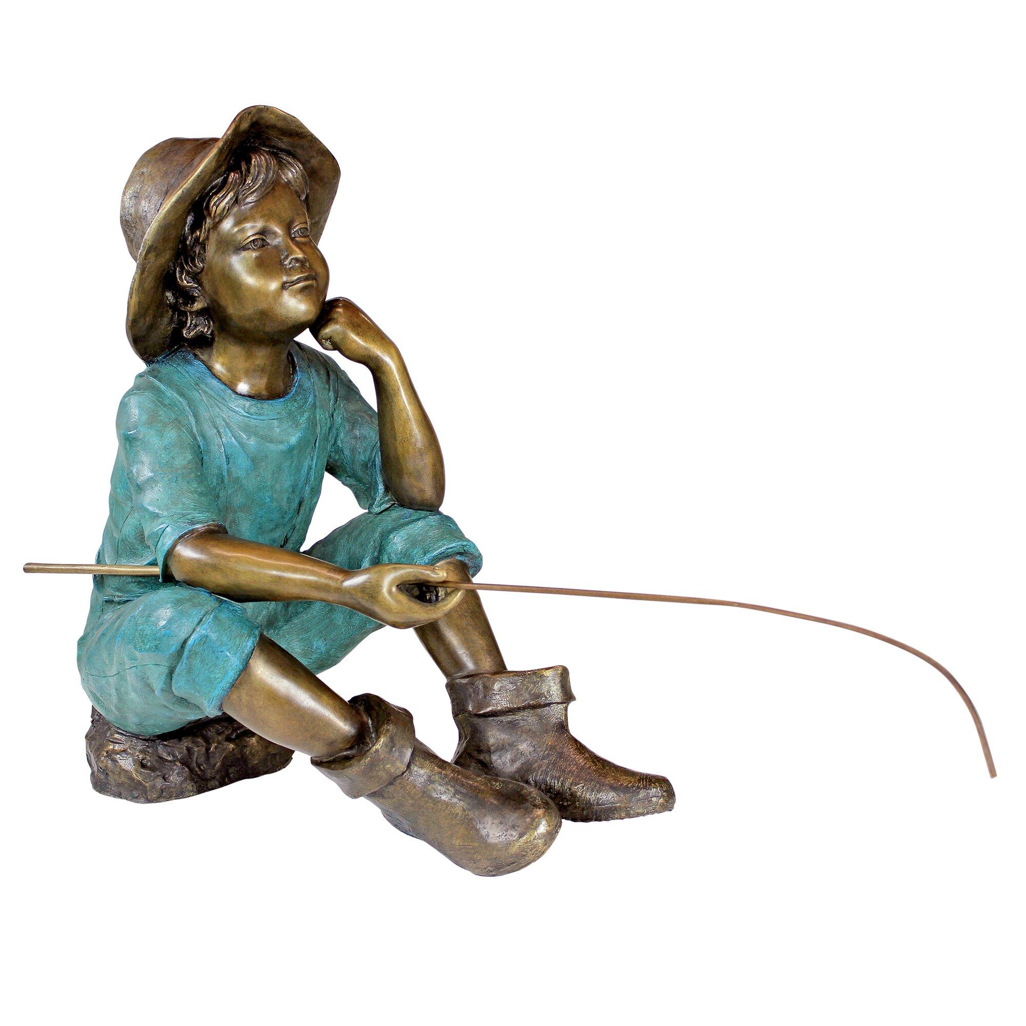 Design toscano fish wish fisher boy cast garden statue for Little boy fishing statue