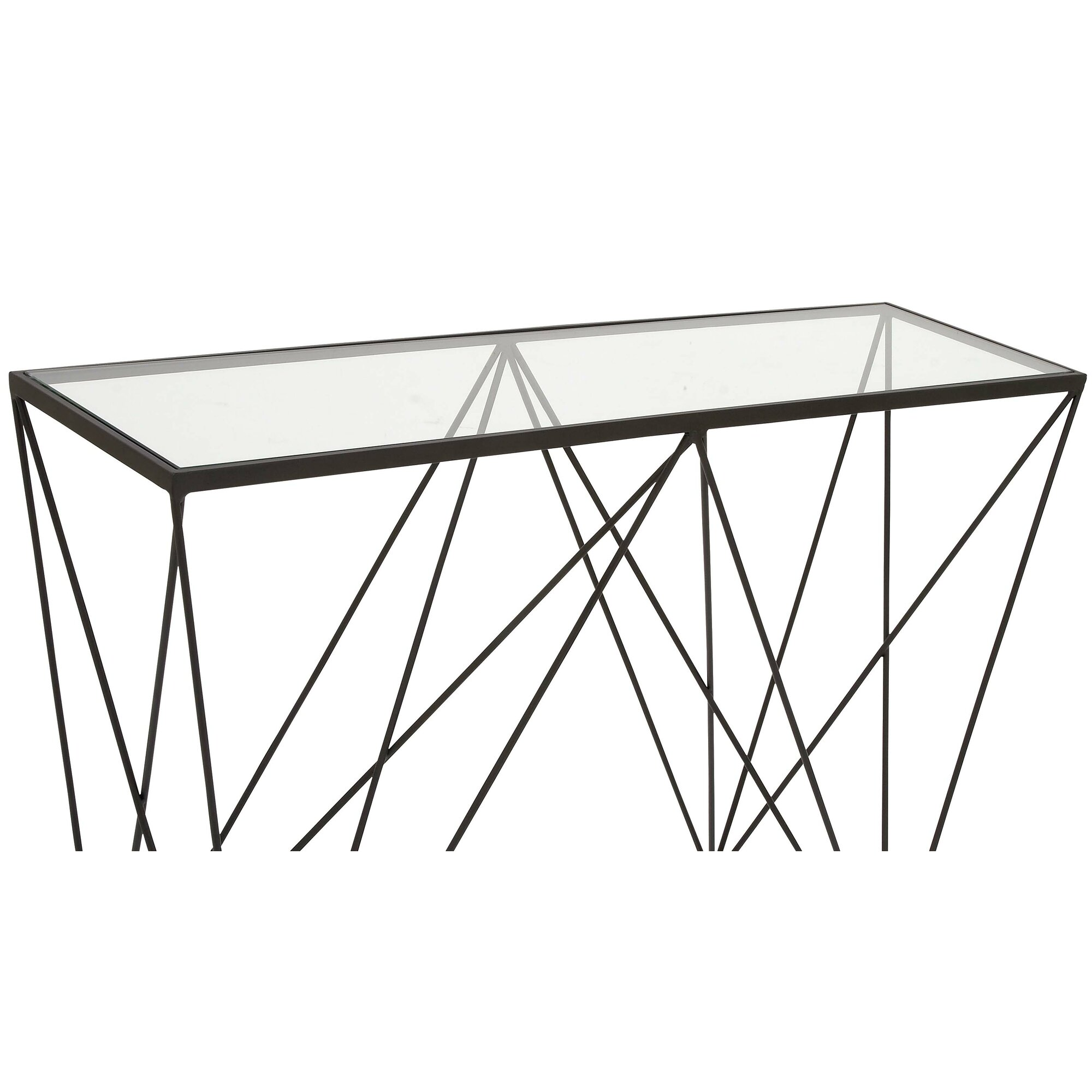 Cole grey metal glass console table reviews wayfair for Metal and glass console tables
