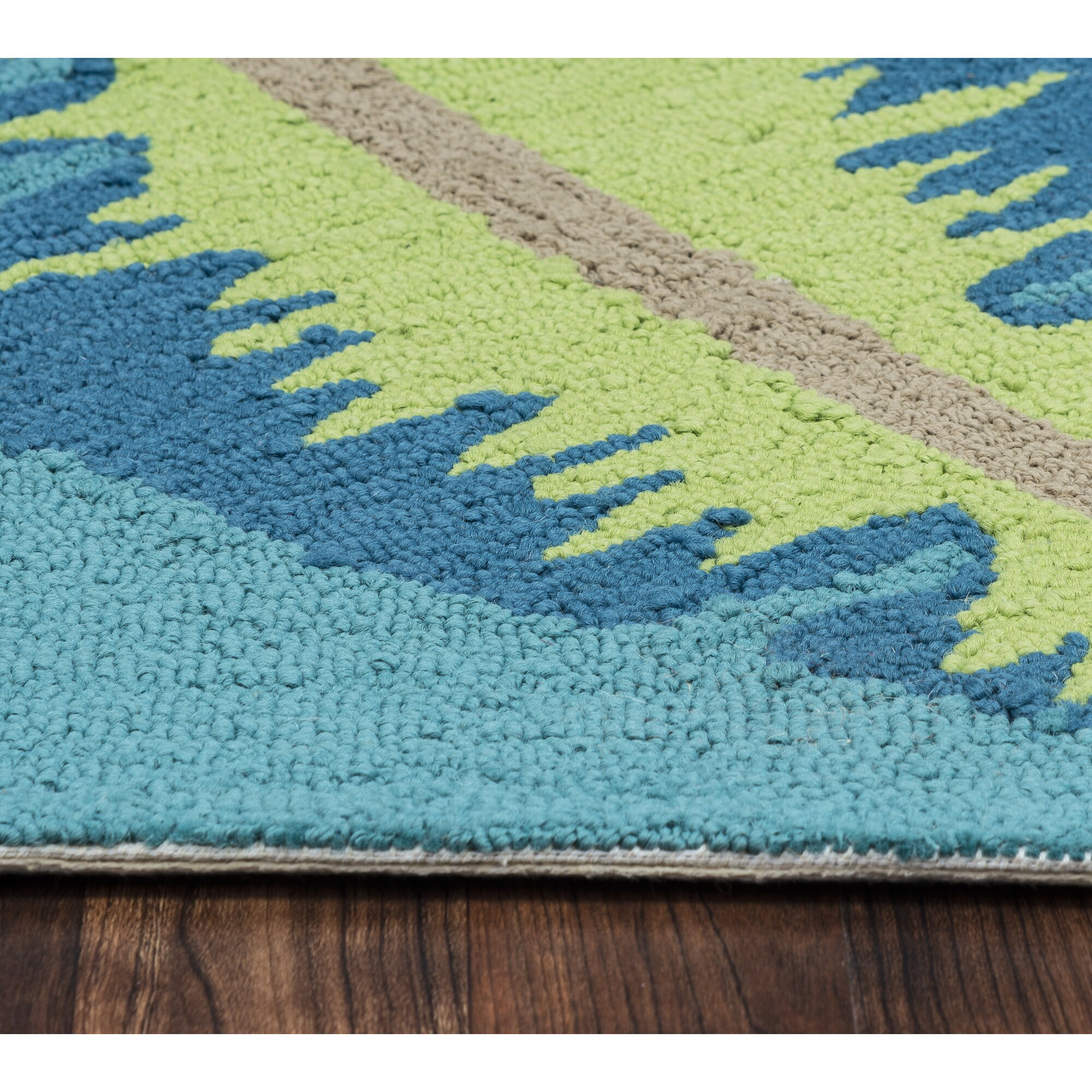 Cayman Hand Tufted Teal Indoor Outdoor Area Rug & Reviews