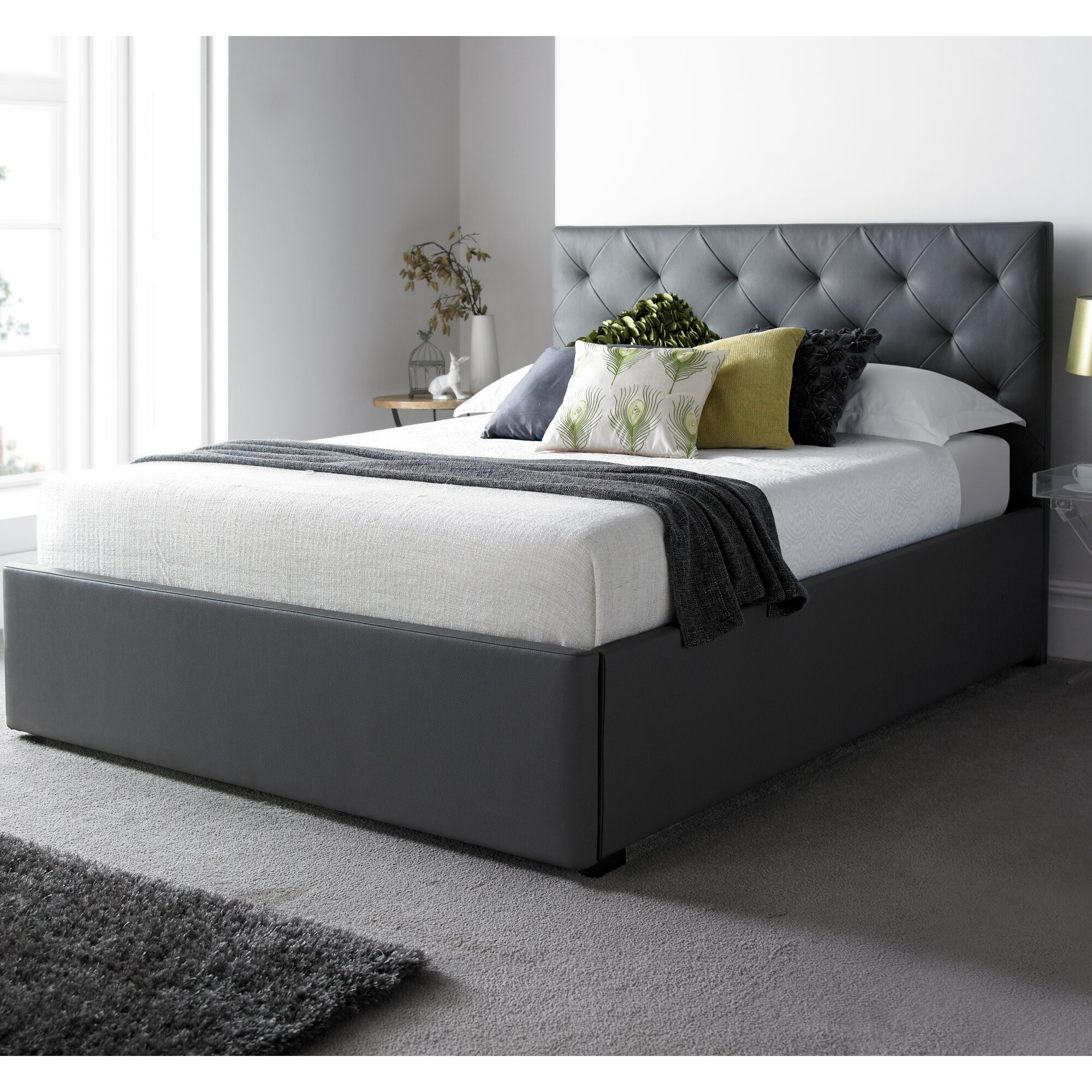 Home loft concept arouca upholstered storage bed reviews for Concept beds