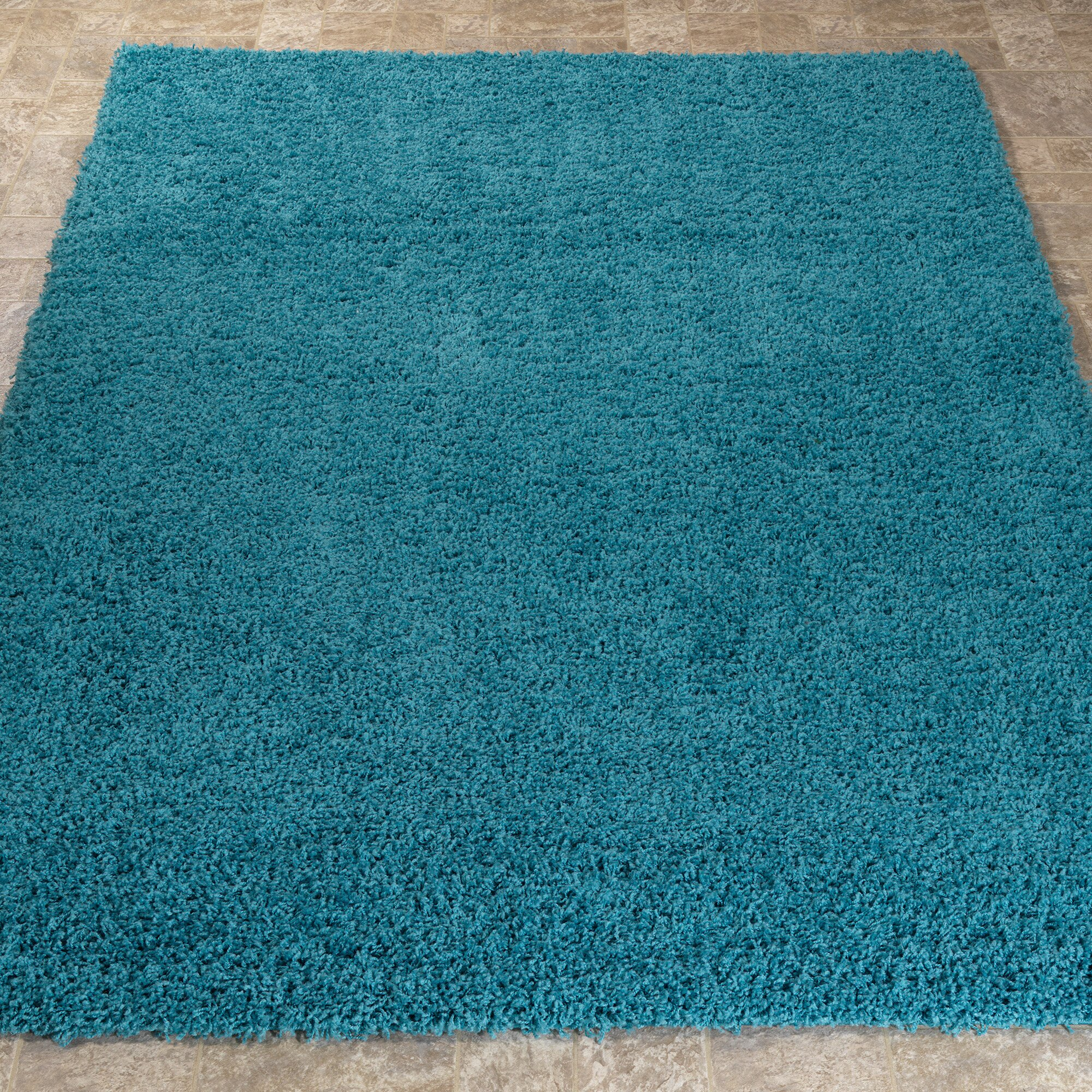 Ottomanson turquoise blue shaggy area rug reviews wayfair - Tapis shaggy turquoise ...