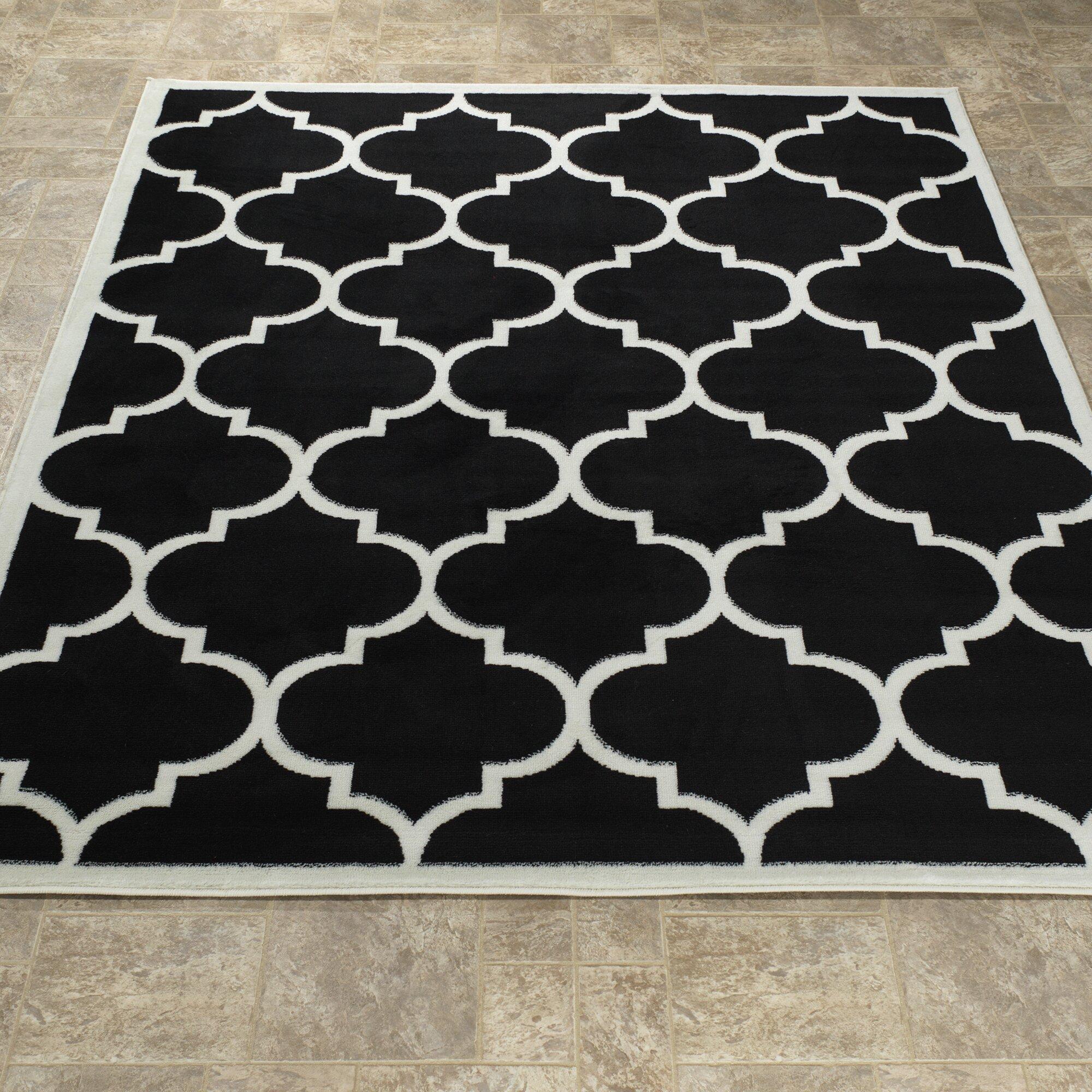 Ottomanson Paterson Moroccan Trellis Design Black White