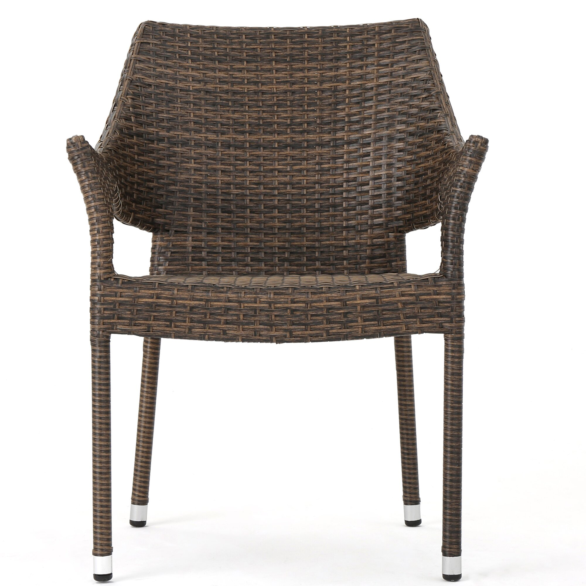 Wade Logan Abby Outdoor Wicker Stacking Dining Arm Chair