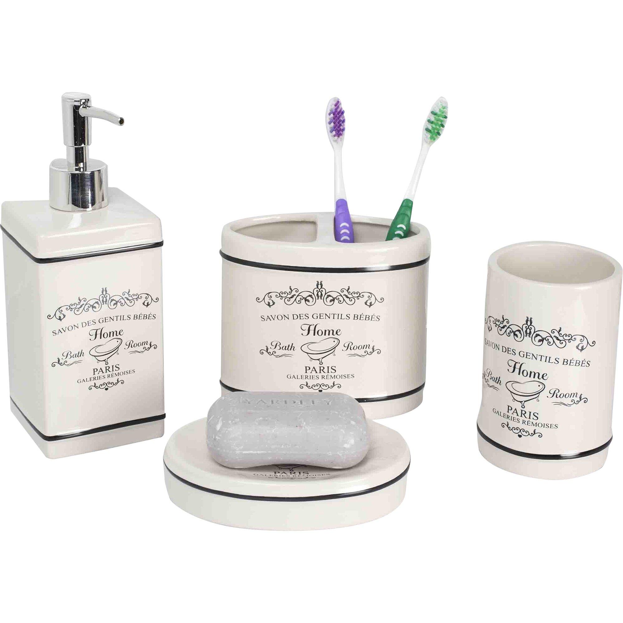 Home basics paris 4 piece bathroom accessory set reviews for Bathroom 4 piece set