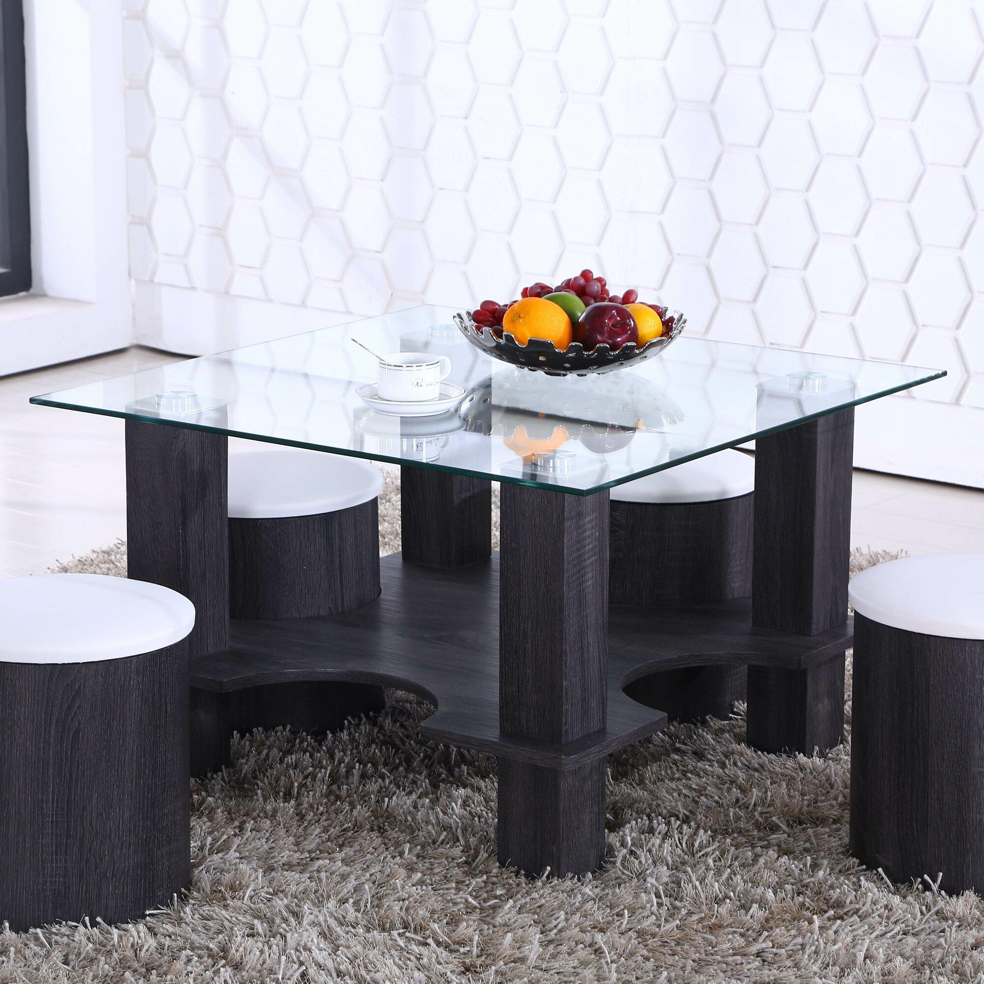 Primo International Jeb Coffee Table With Nesting Stools