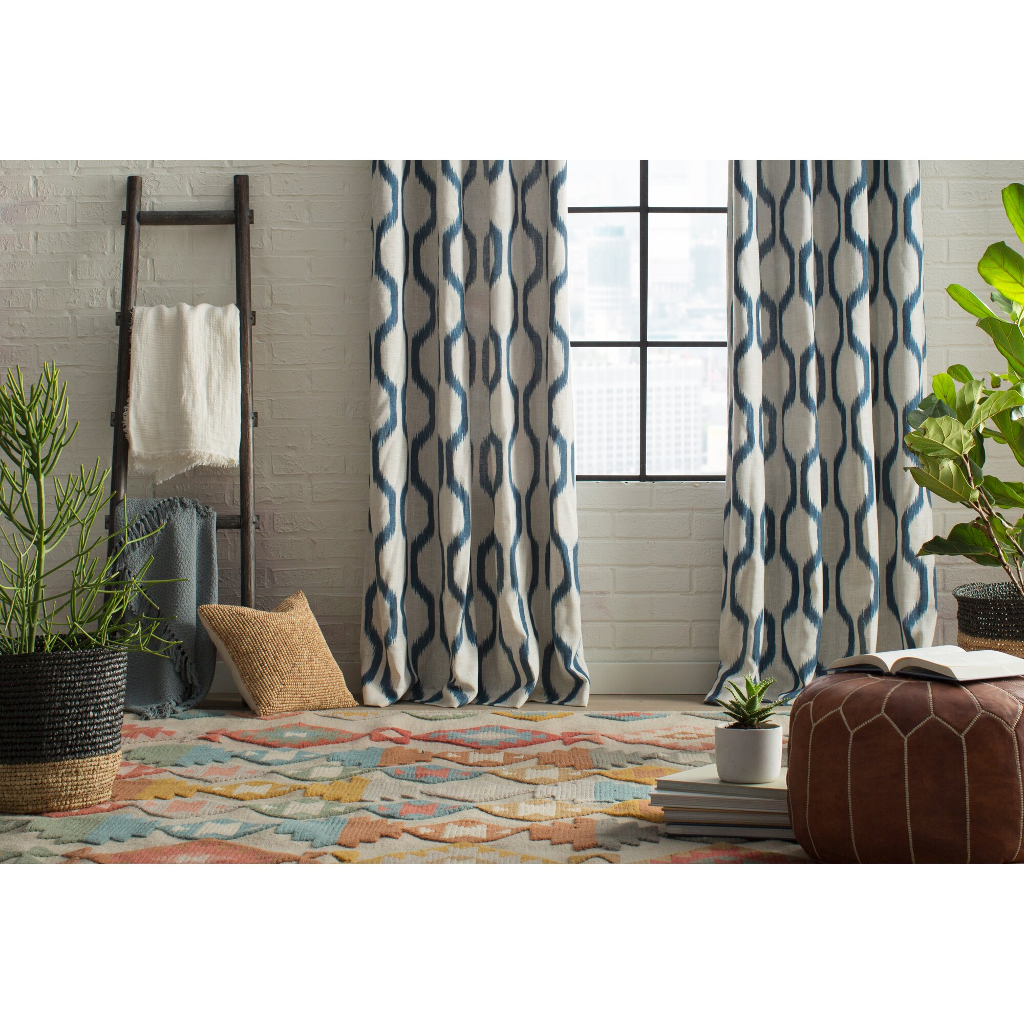 Navy ikat curtains - Renzo Geometric Grommet Single Curtain Panel