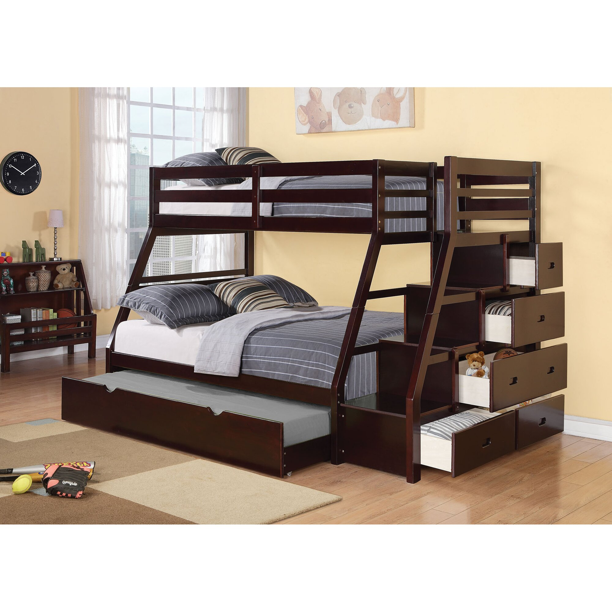 Bunk beds for adults full - Reece Twin Over Full Bunk Bed With Storage Ladder And Trundle