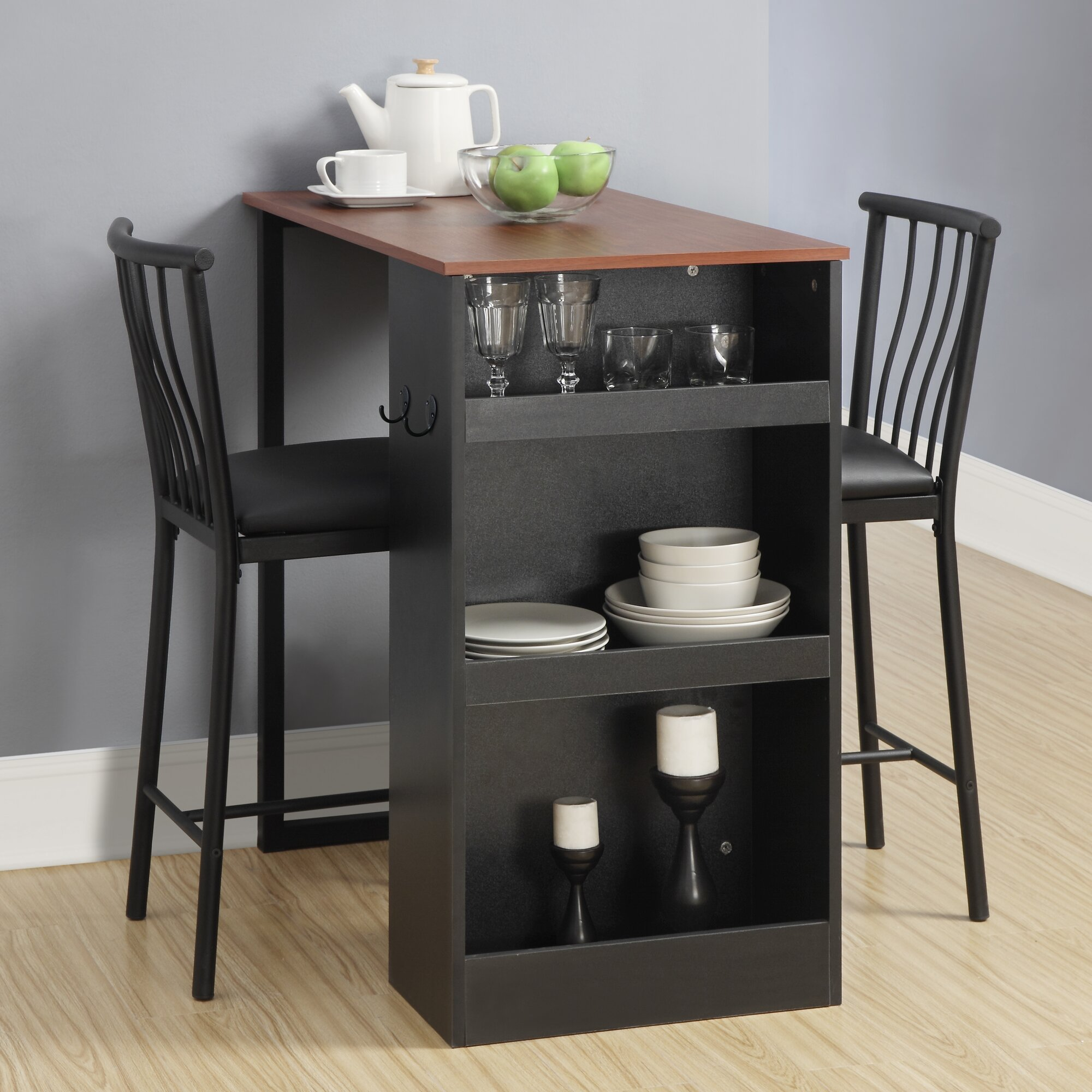 Kitchen pub table and chairs - Francis 3 Piece Counter Height Pub Table Set
