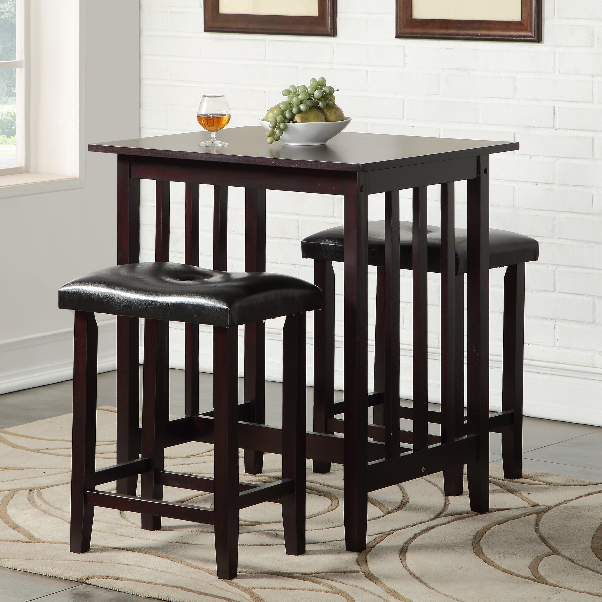 richland 3 piece counter height pub table set - Kitchen Bar Table Set
