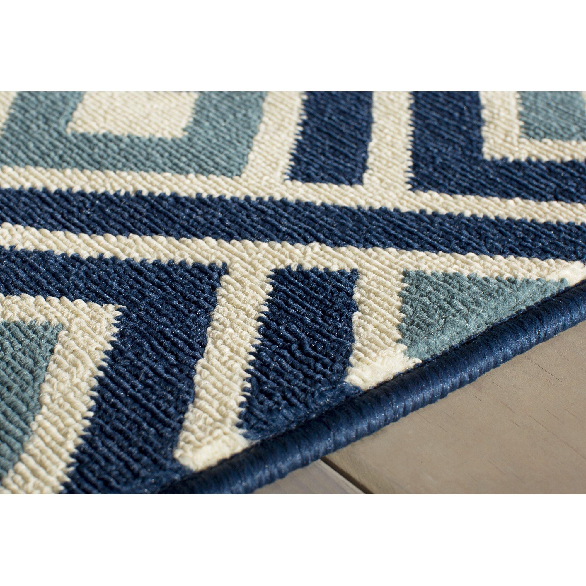 Varick gallery wexler blue indoor outdoor area rug for Blue indoor outdoor rug