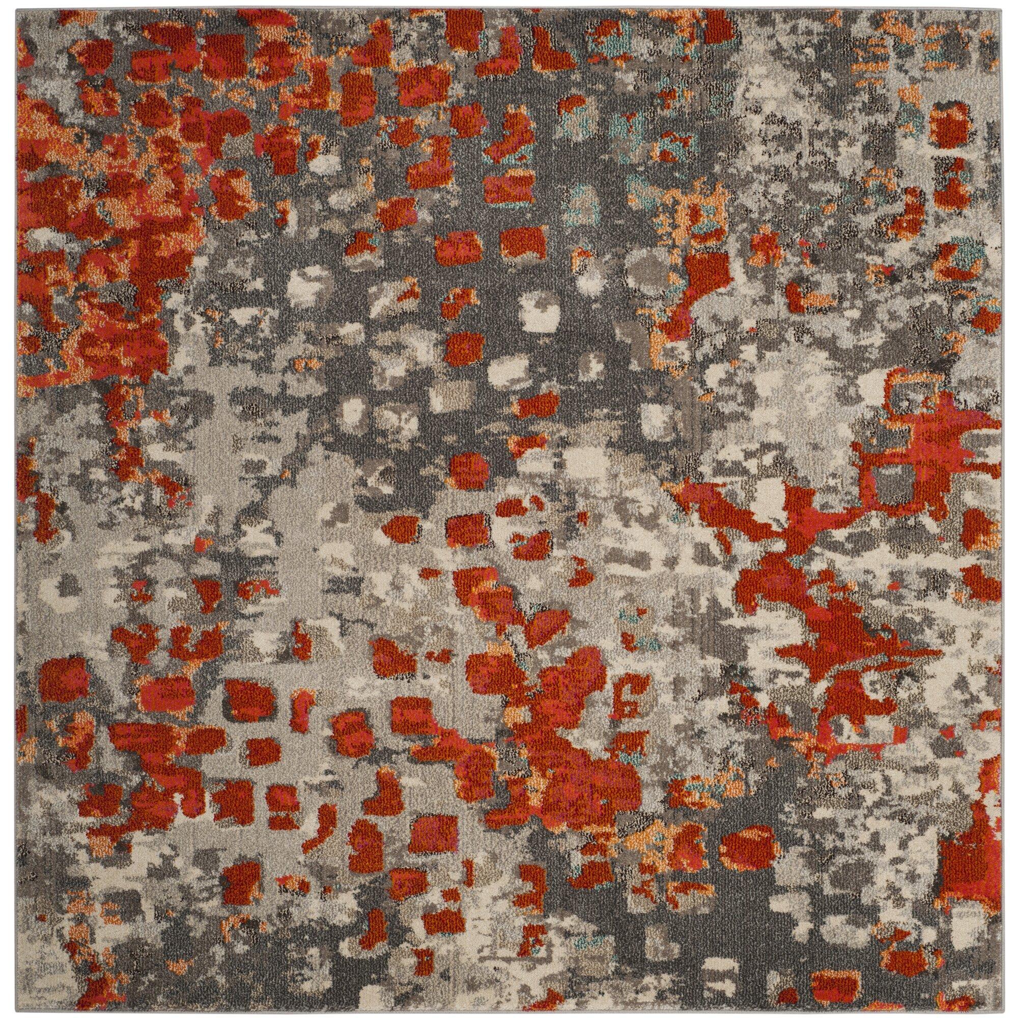 Latitude Run Mila Gray/Orange Area Rug & Reviews