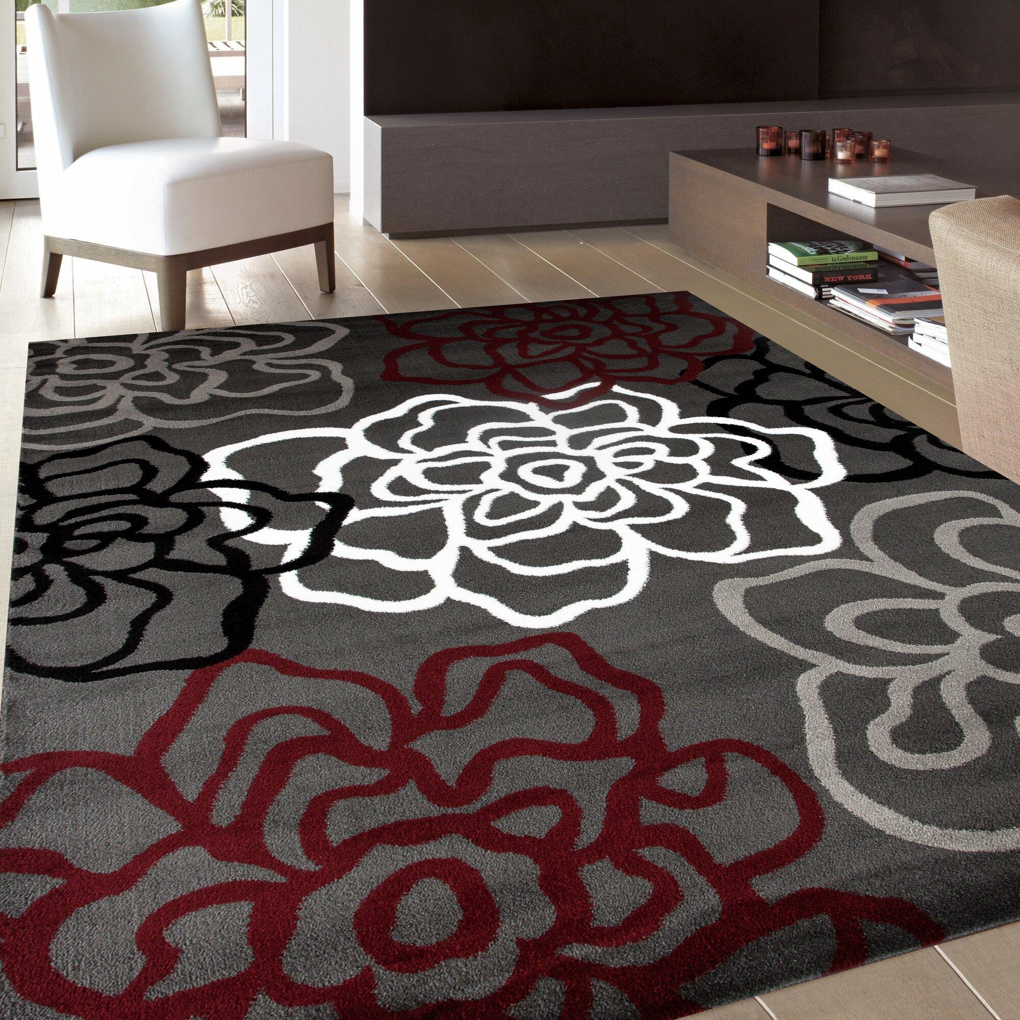 winston porter sharen red gray area rug reviews wayfair. Black Bedroom Furniture Sets. Home Design Ideas
