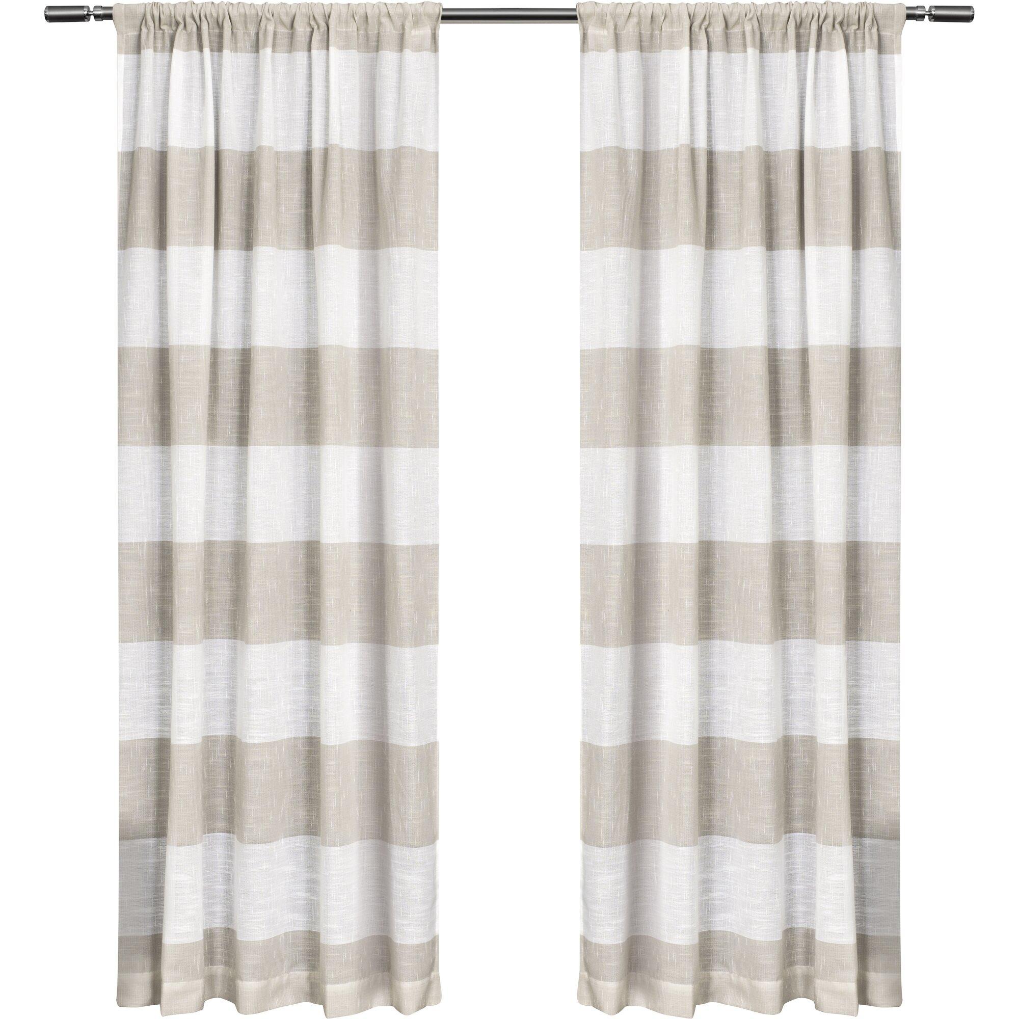 Brown plaid curtain panels - Birch Harbor Striped Semi Sheer Rod Pocket Curtain Panels