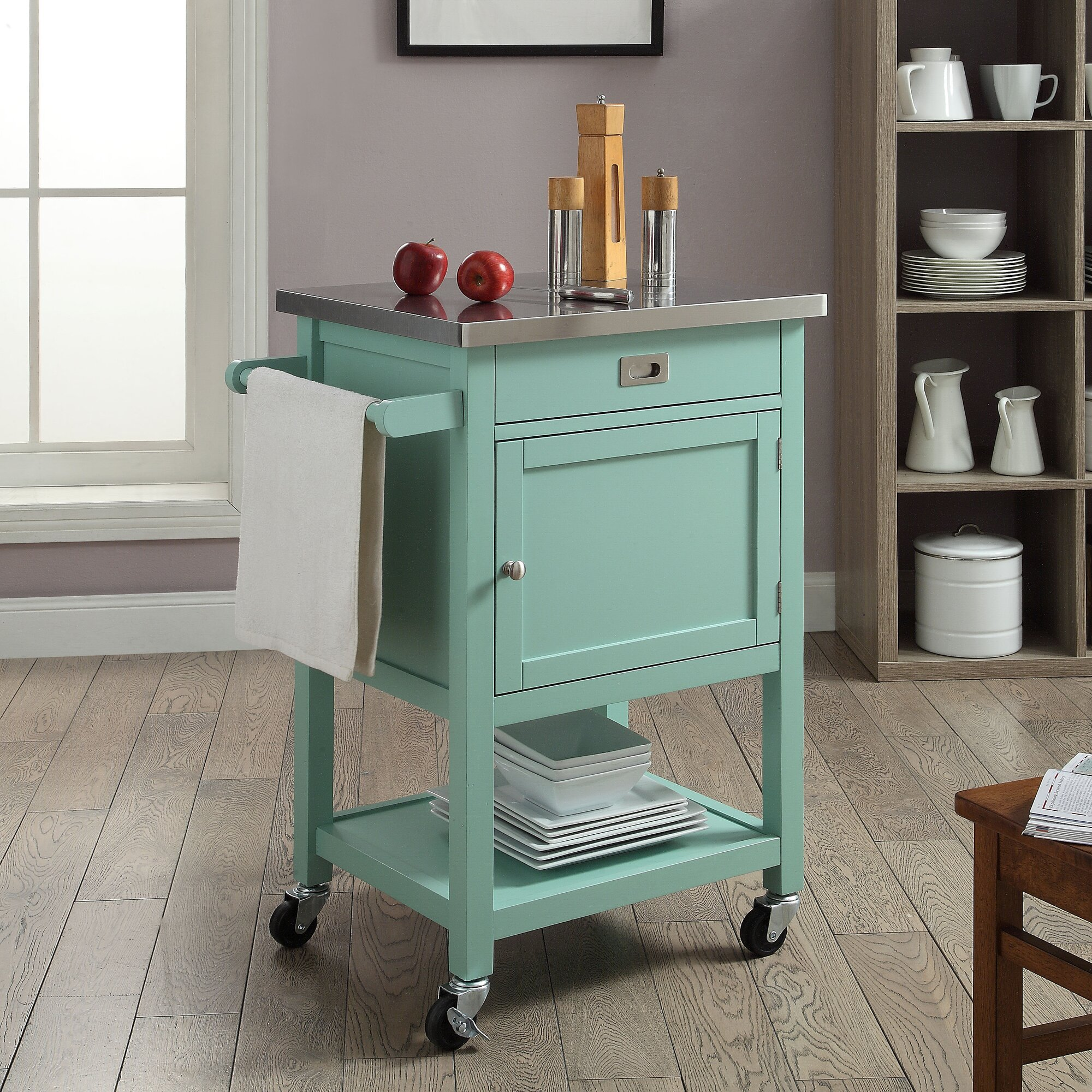 Cocina Kitchen Cart With Stainless Steel Top: Breakwater Bay Brookridge Kitchen Cart With Stainless