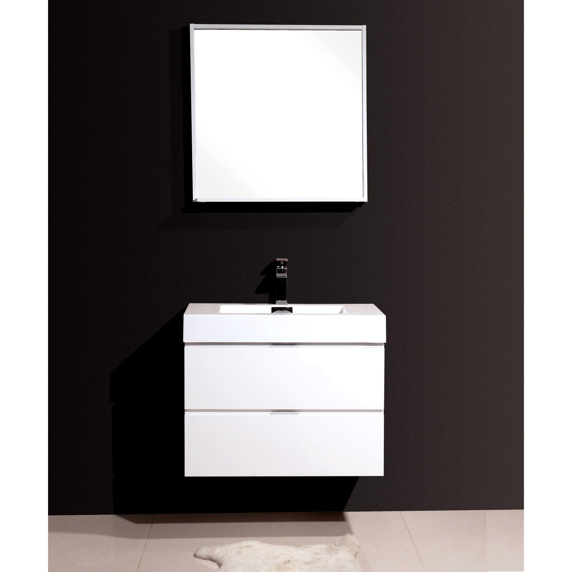 Wade logan tenafly 30 single wall mount modern bathroom vanity set reviews - Linden modern bathroom vanity set ...