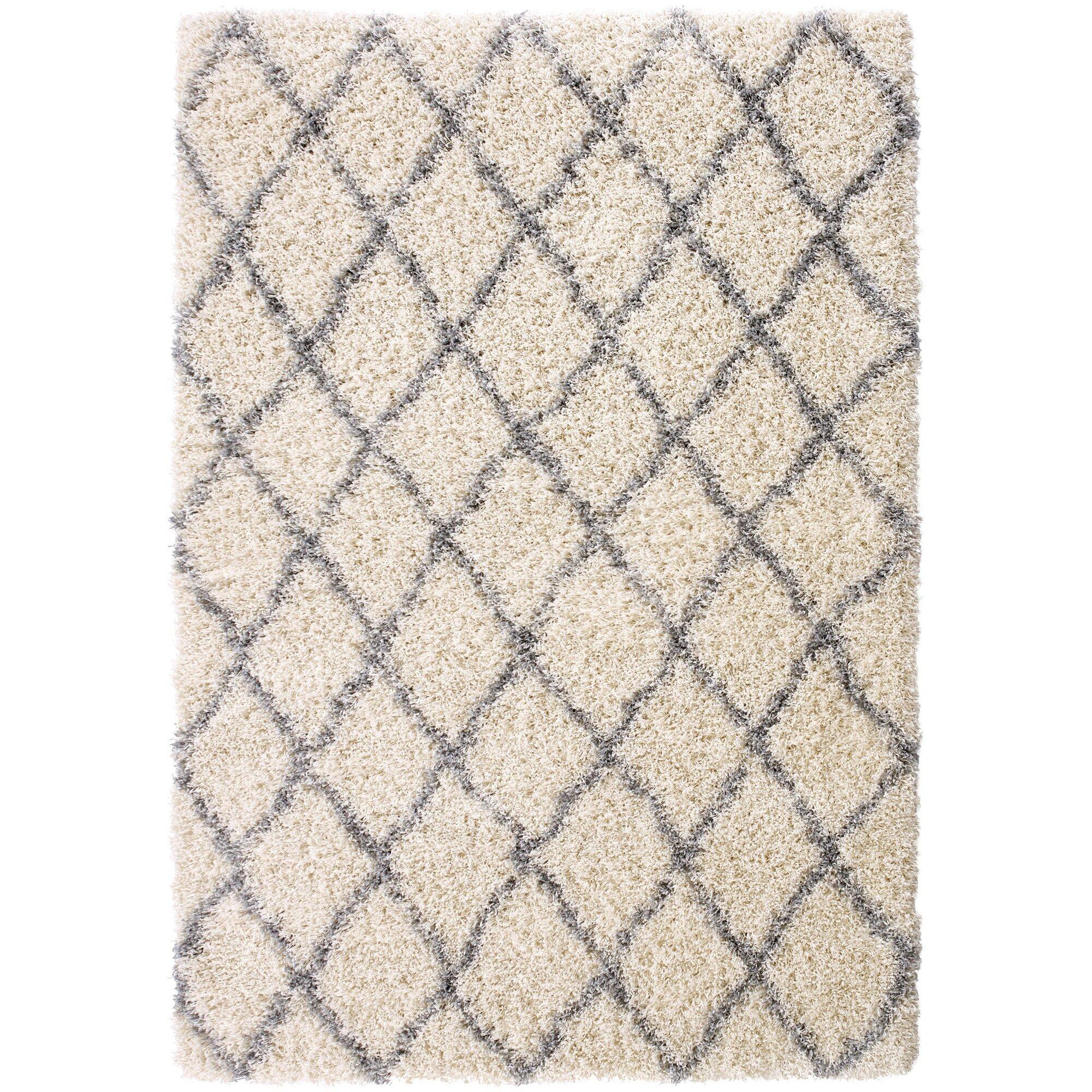bostrom modern moroccan trellis ivorygrey shag area rug