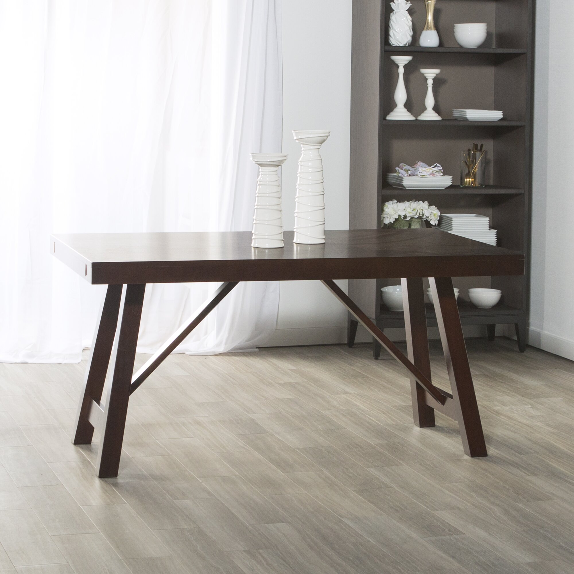 Dining Unfinished Wood Trestle Bench International: Loon Peak Chiswick Solid Wood Trestle Extendable Dining