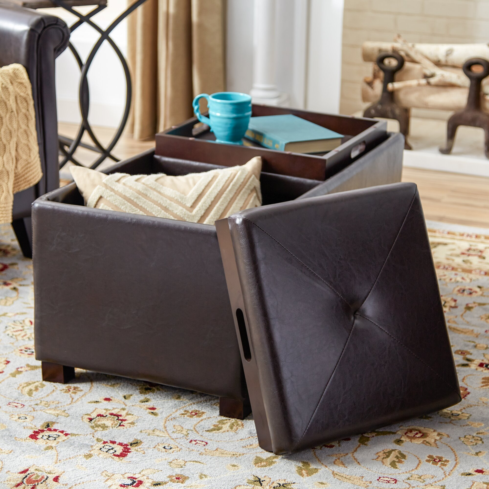 Andover Mills Leslie Double Tray Storage OttomanReviewsWayfair