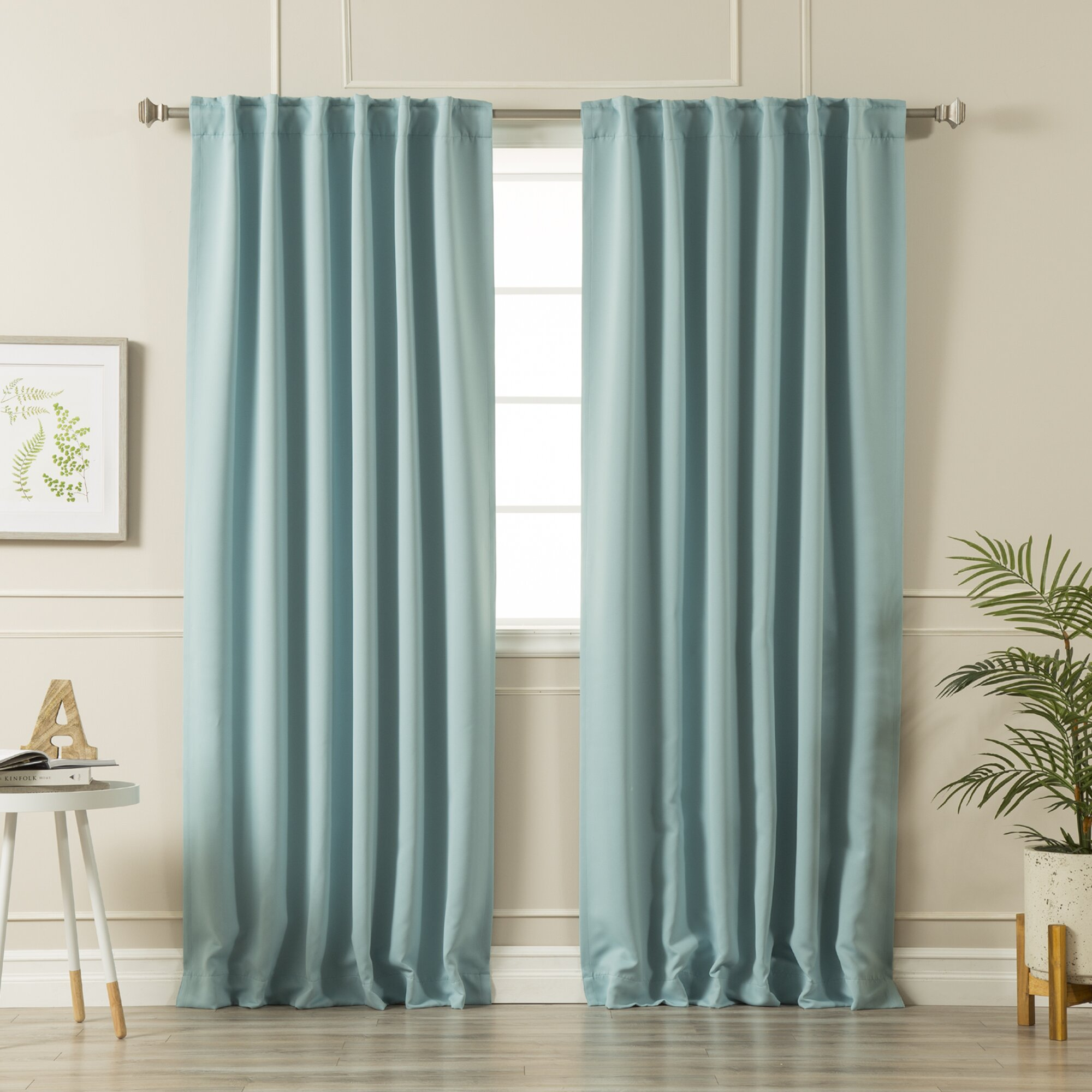 Thomas Solid Thermal Rod Pocket Curtain Panel Pair