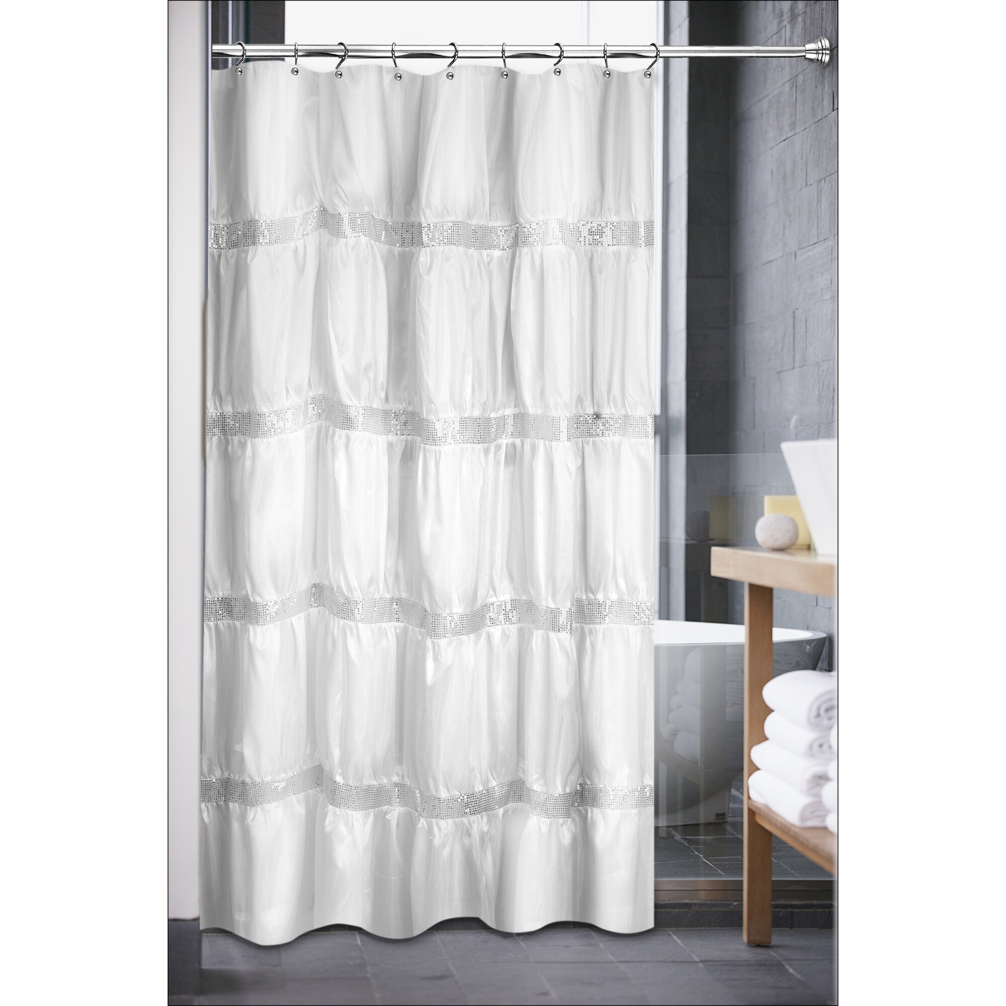 Sinatra silver shower curtain - Sweet Home Collection Luxurious Rhinestone Shower Curtain