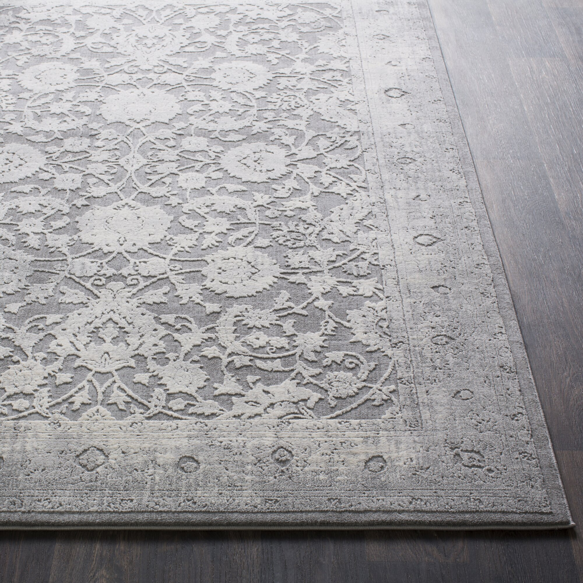 Gracie Oaks Rushford Vintage Persian Distressed Gray Area