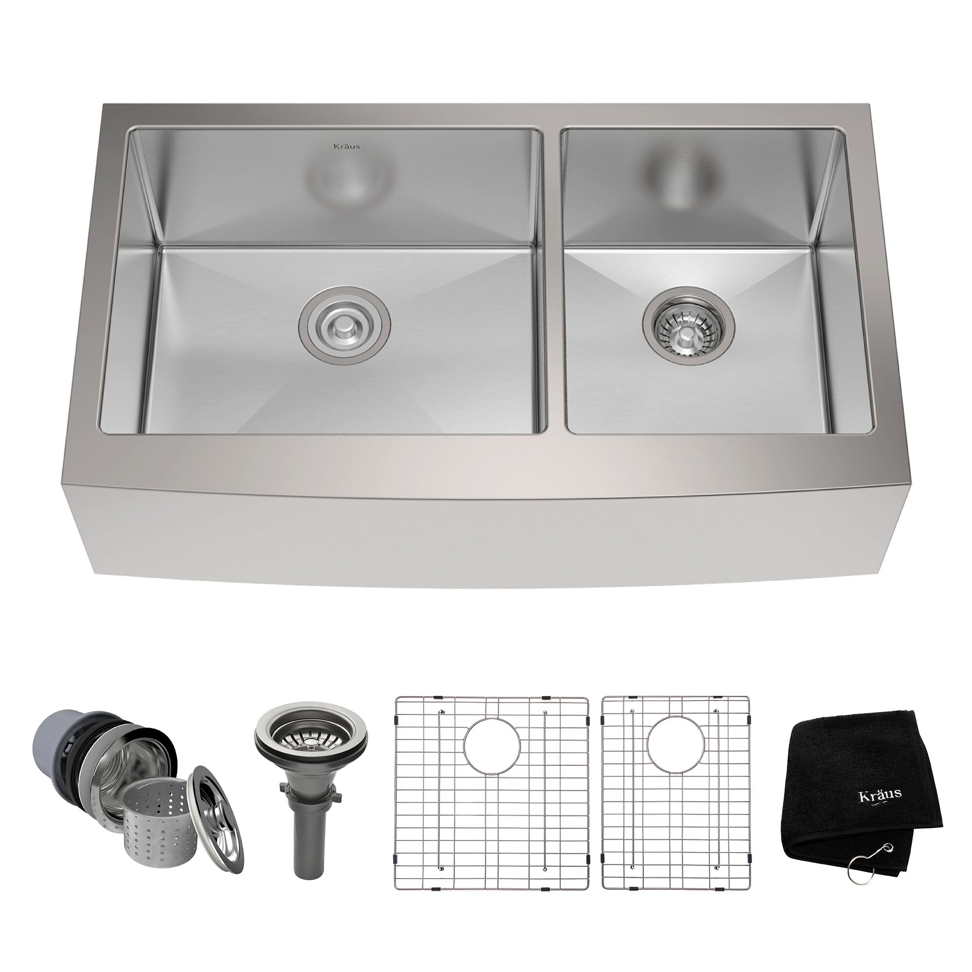 """Kraus Stainless Steel 35.88""""x 20.75"""" Double Basin"""