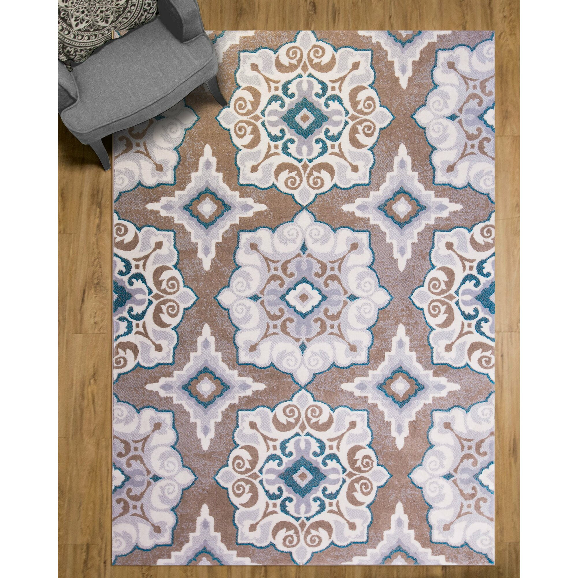 Andover Mills Natural Cerulean Blue Taupe Area Rug