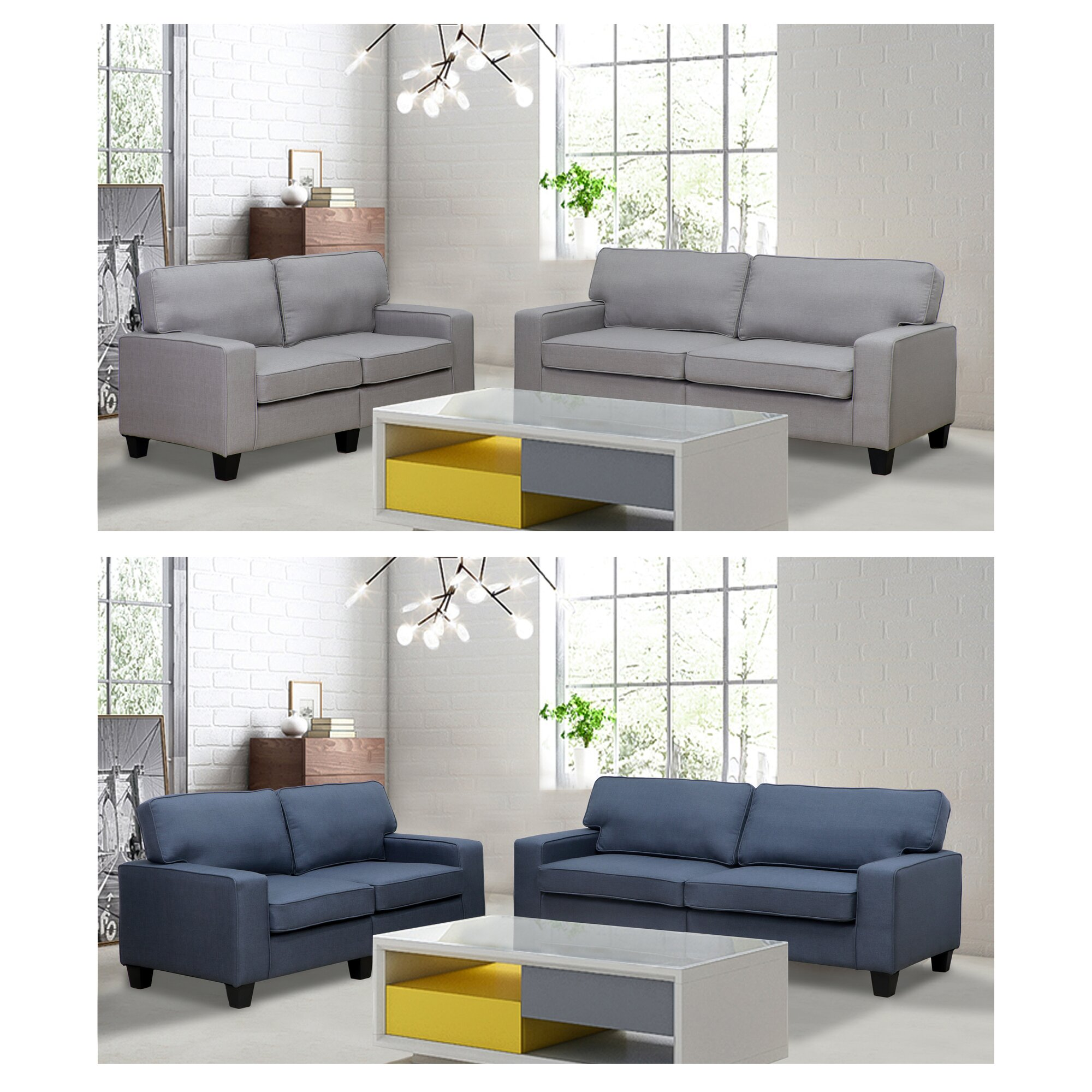 varick gallery bittle modern 2 piece living room sofa and loveseat set reviews. Black Bedroom Furniture Sets. Home Design Ideas