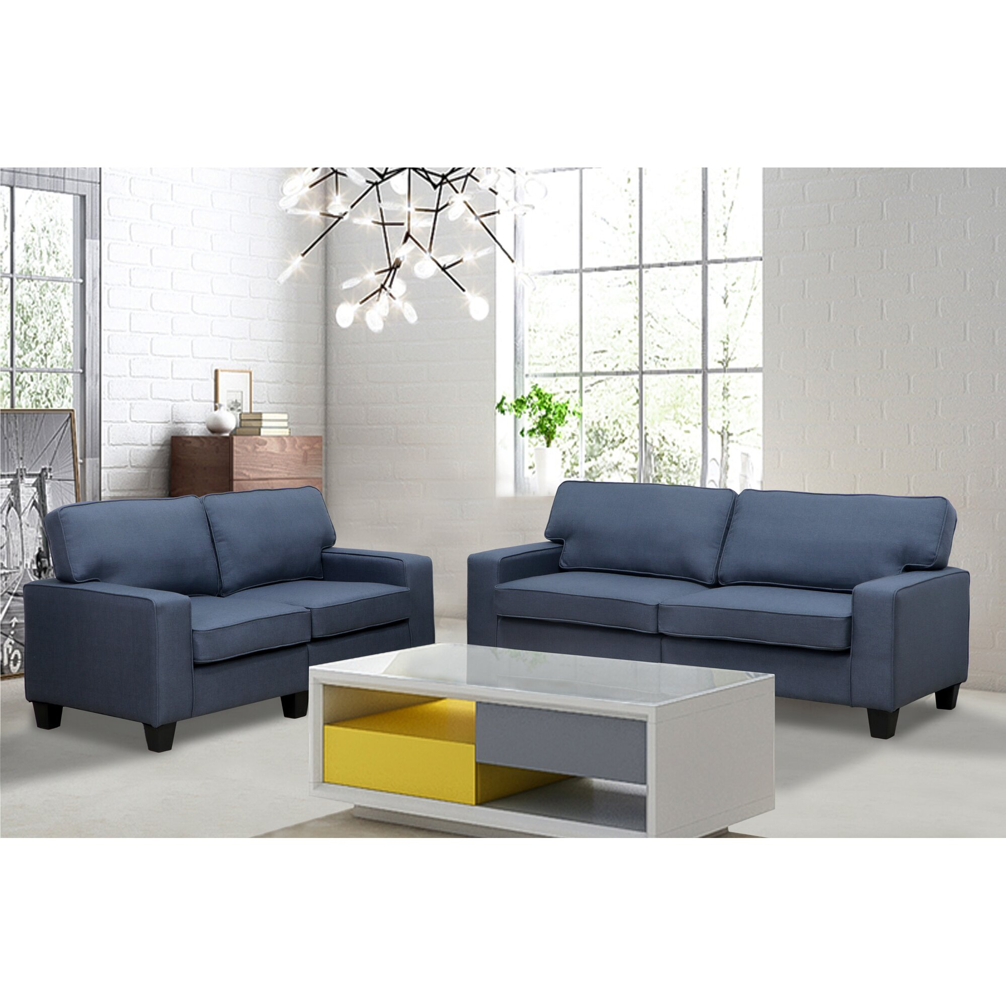 Varick Gallery Bittle Modern 2 Piece Living Room Sofa And