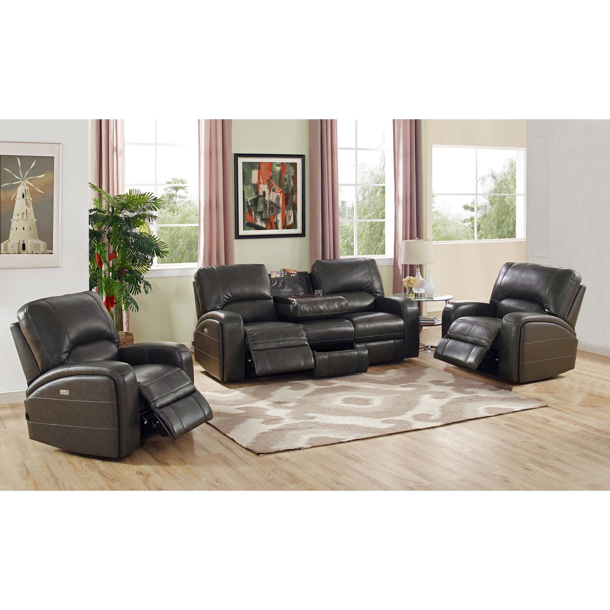 Red Barrel Studio Woodhull Leather Living Room Set