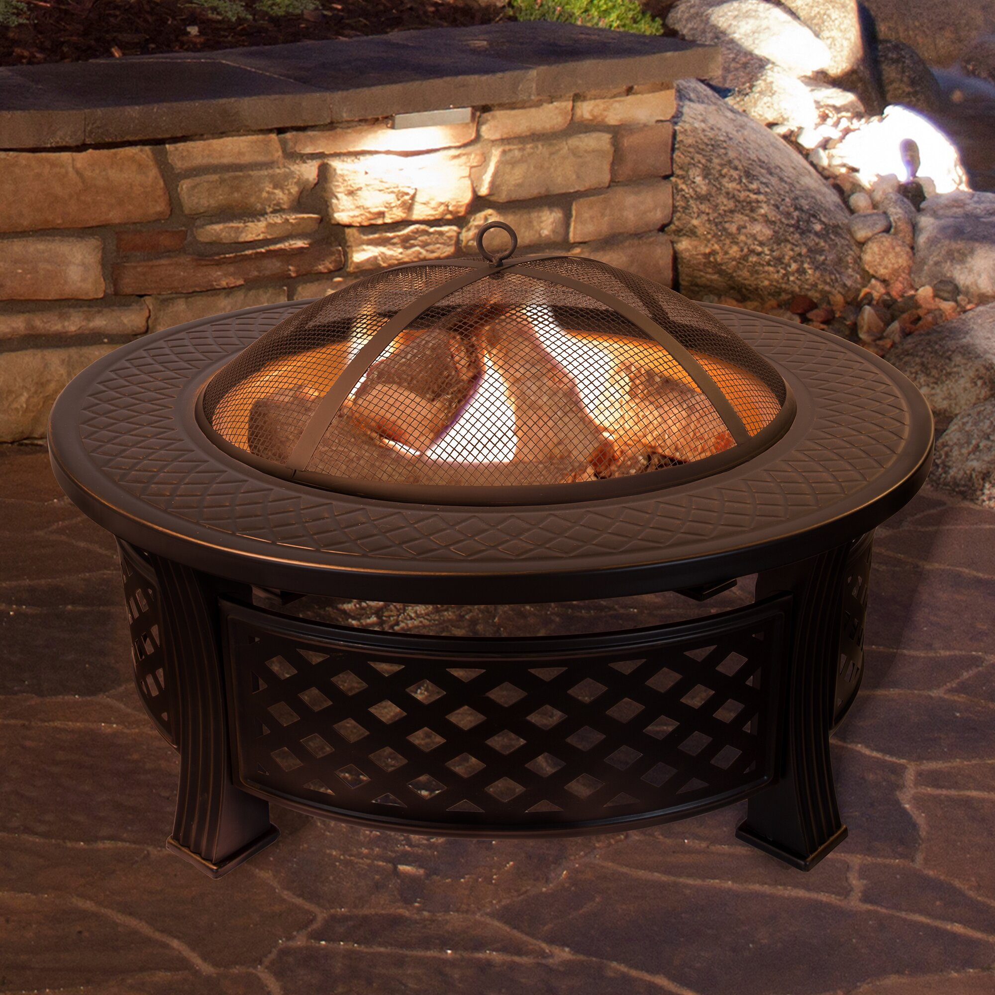 Patio Table With Wood Burning Fire Pit: Pure Garden Round Steel Wood Burning Fire Pit Table