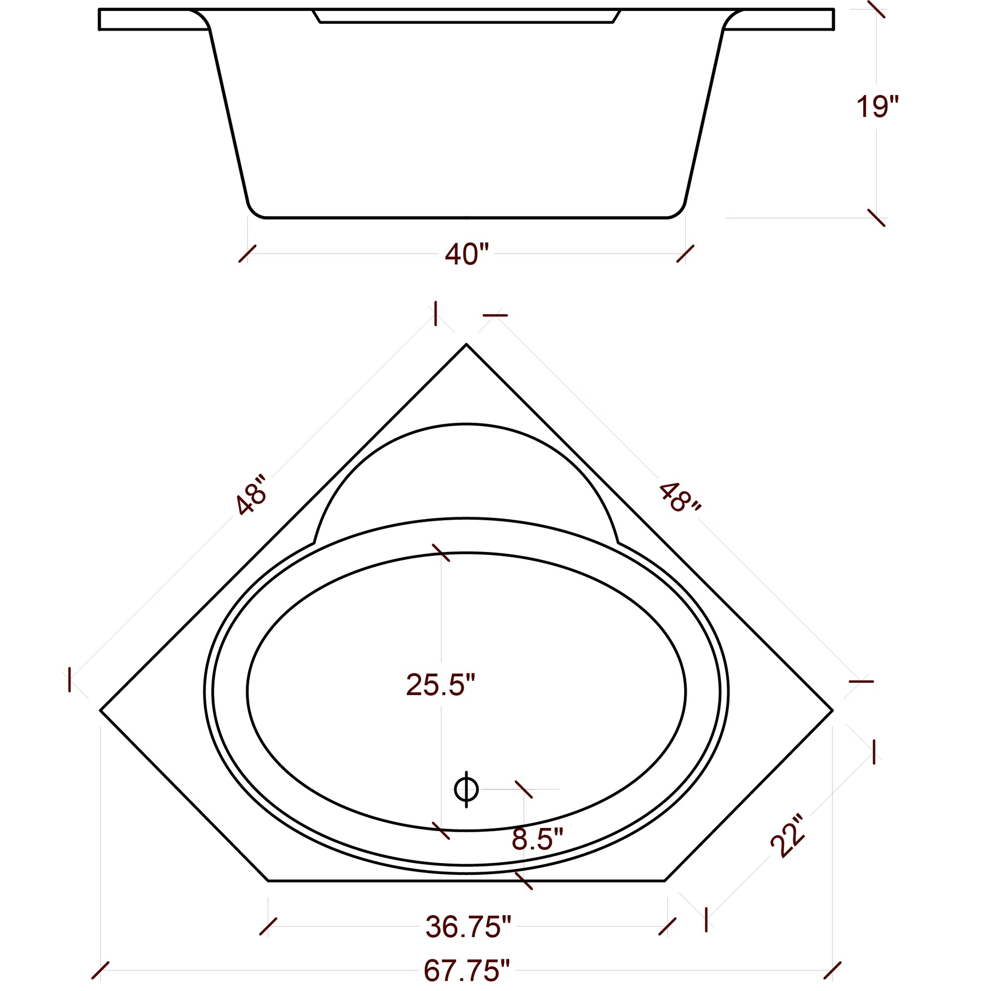American acrylic 48 x 48 soaker corner bathtub reviews for Small corner bathtub dimensions